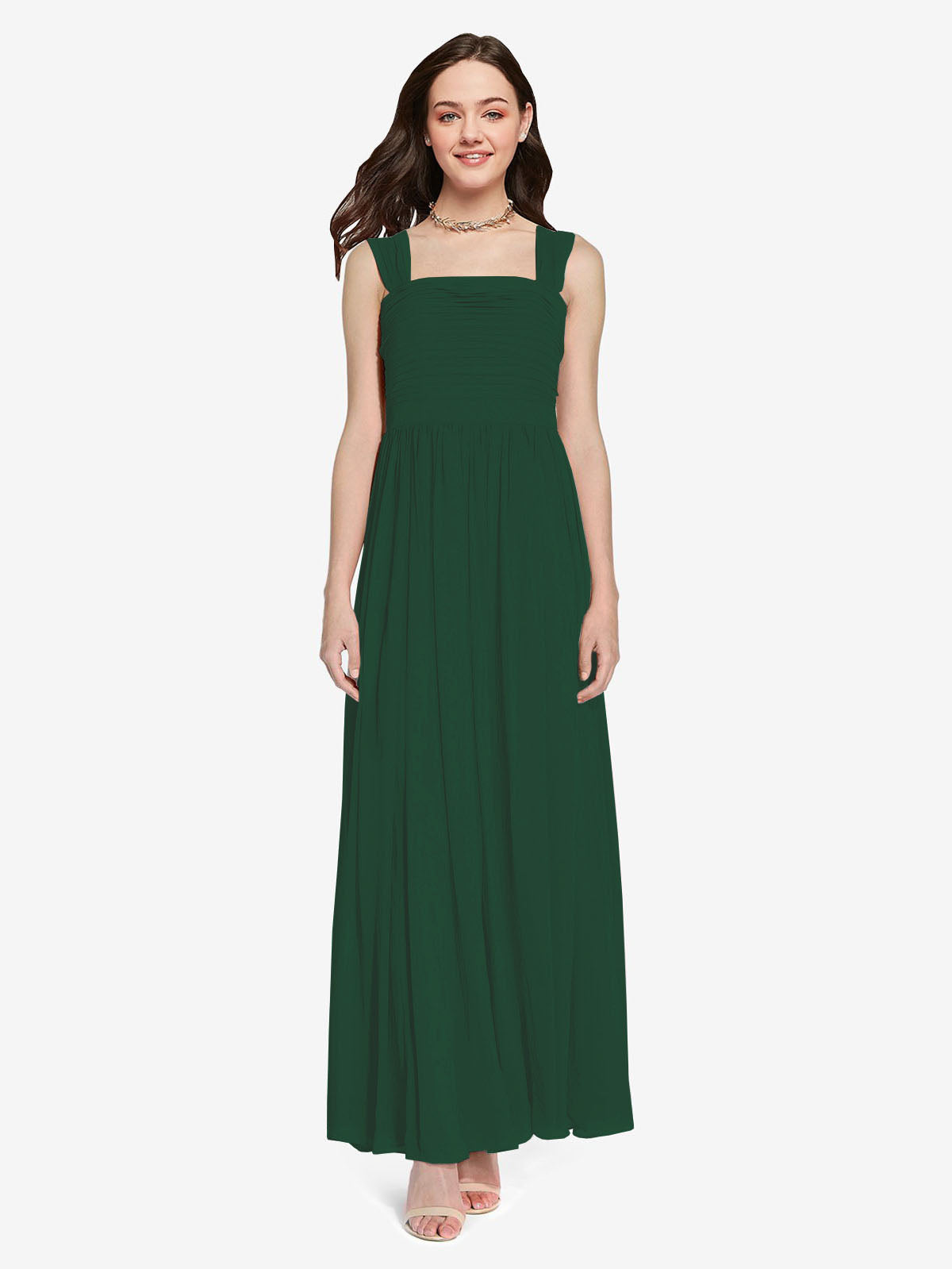Long A-Line Square Sleeveless Dark Green Chiffon Bridesmaid Dress Aldridge