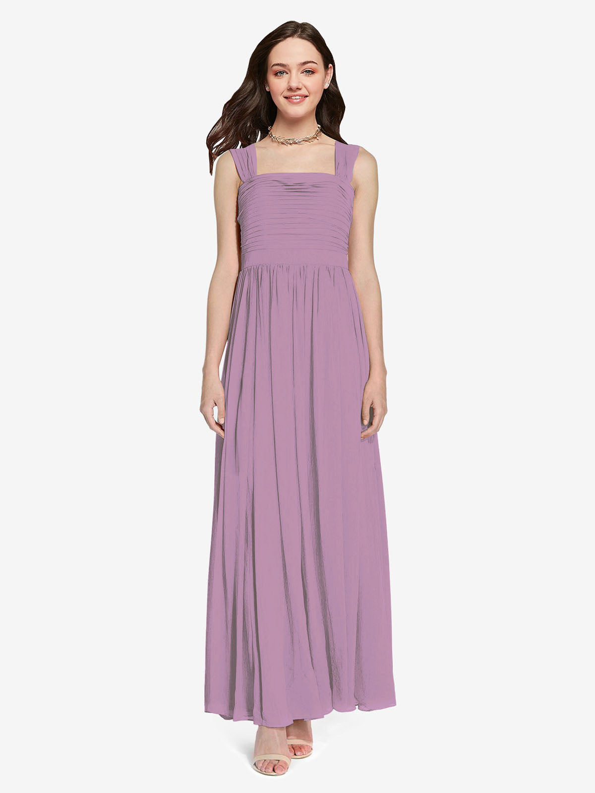 Long A-Line Square Sleeveless Dark Lavender Chiffon Bridesmaid Dress Aldridge