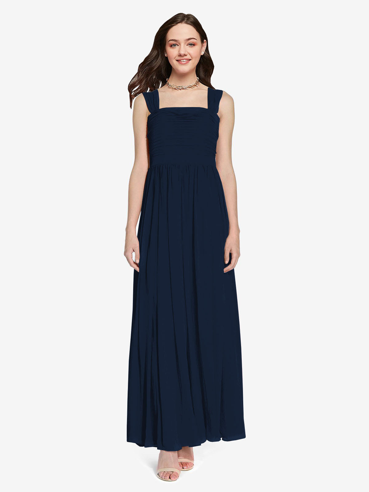 Long A-Line Square Sleeveless Dark Navy Chiffon Bridesmaid Dress Aldridge