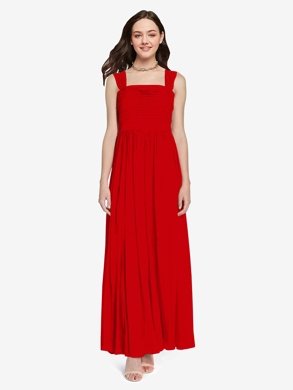 Long A-Line Square Sleeveless Dark Red Chiffon Bridesmaid Dress Aldridge