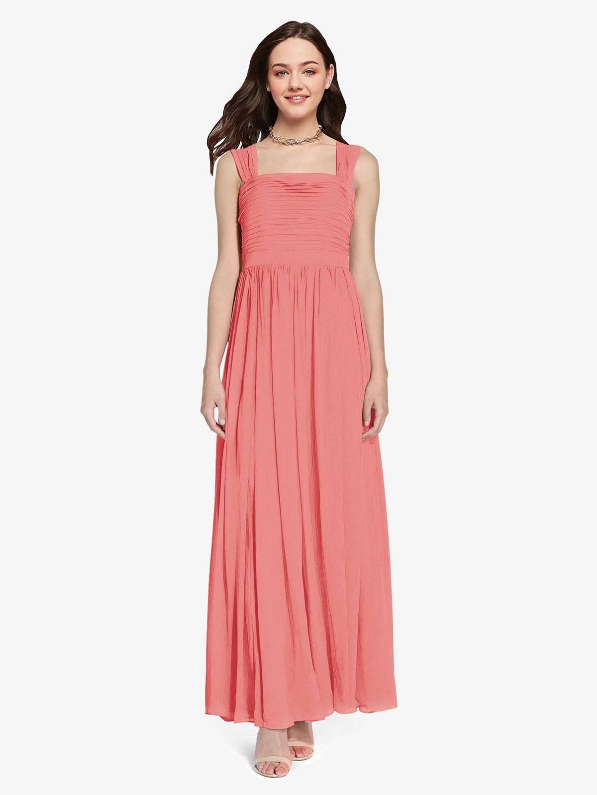 Long A-Line Square Sleeveless Desert Rose Chiffon Bridesmaid Dress Aldridge