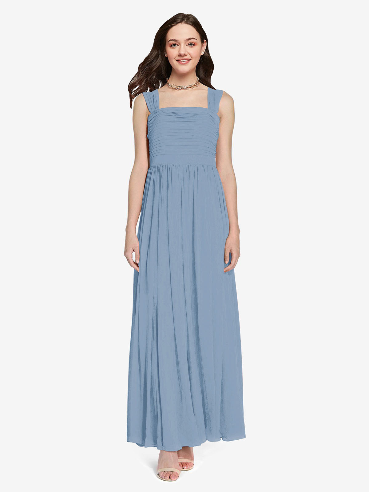 Long A-Line Square Sleeveless Dusty Blue Chiffon Bridesmaid Dress Aldridge
