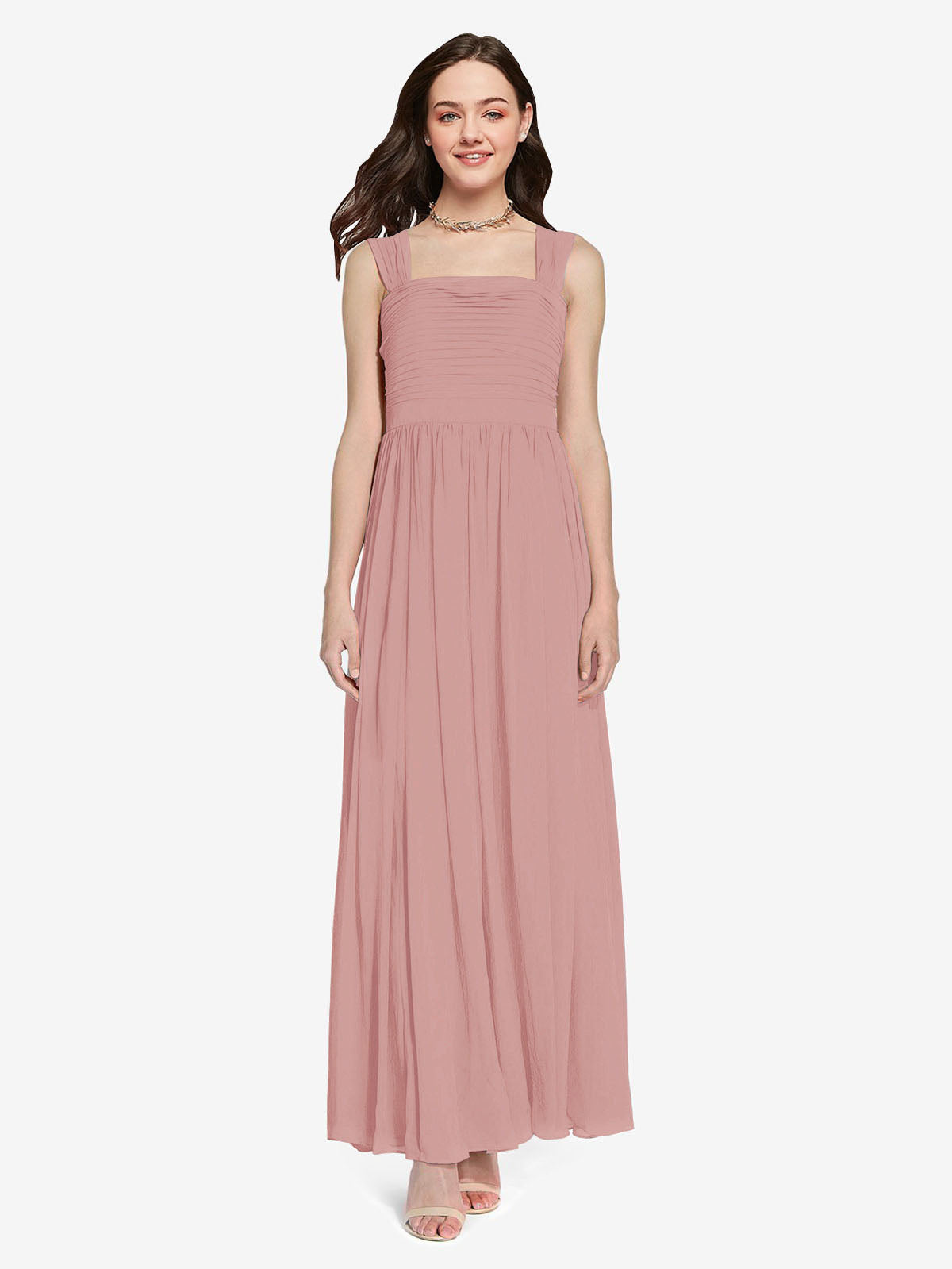 Long A-Line Square Sleeveless Dusty Pink Chiffon Bridesmaid Dress Aldridge