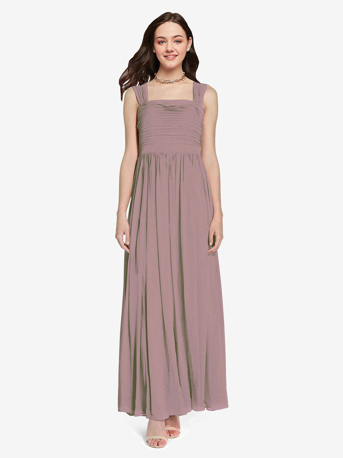 Long A-Line Square Sleeveless Dusty Rose Chiffon Bridesmaid Dress Aldridge