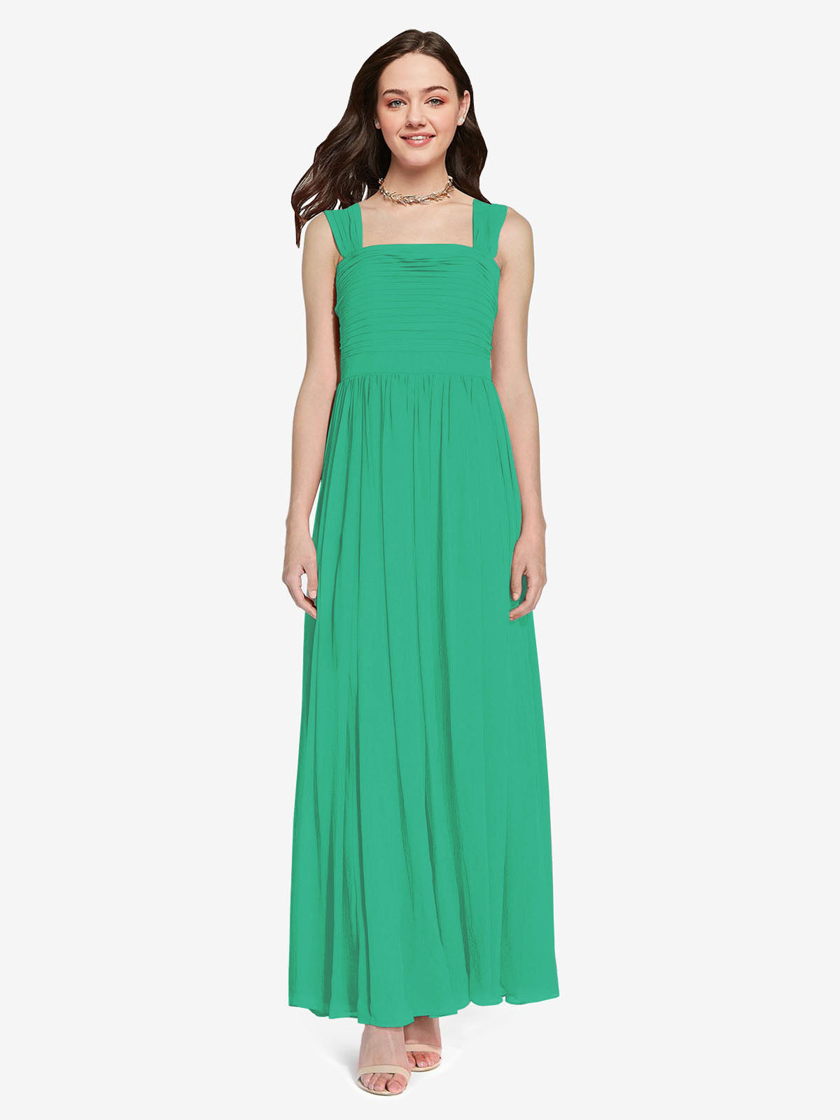 Long A-Line Square Sleeveless Emerald Green Chiffon Bridesmaid Dress Aldridge