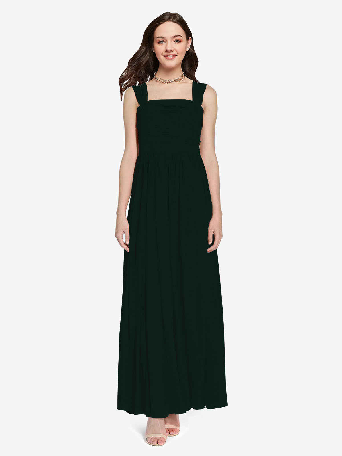 Long A-Line Square Sleeveless Ever Green Chiffon Bridesmaid Dress Aldridge