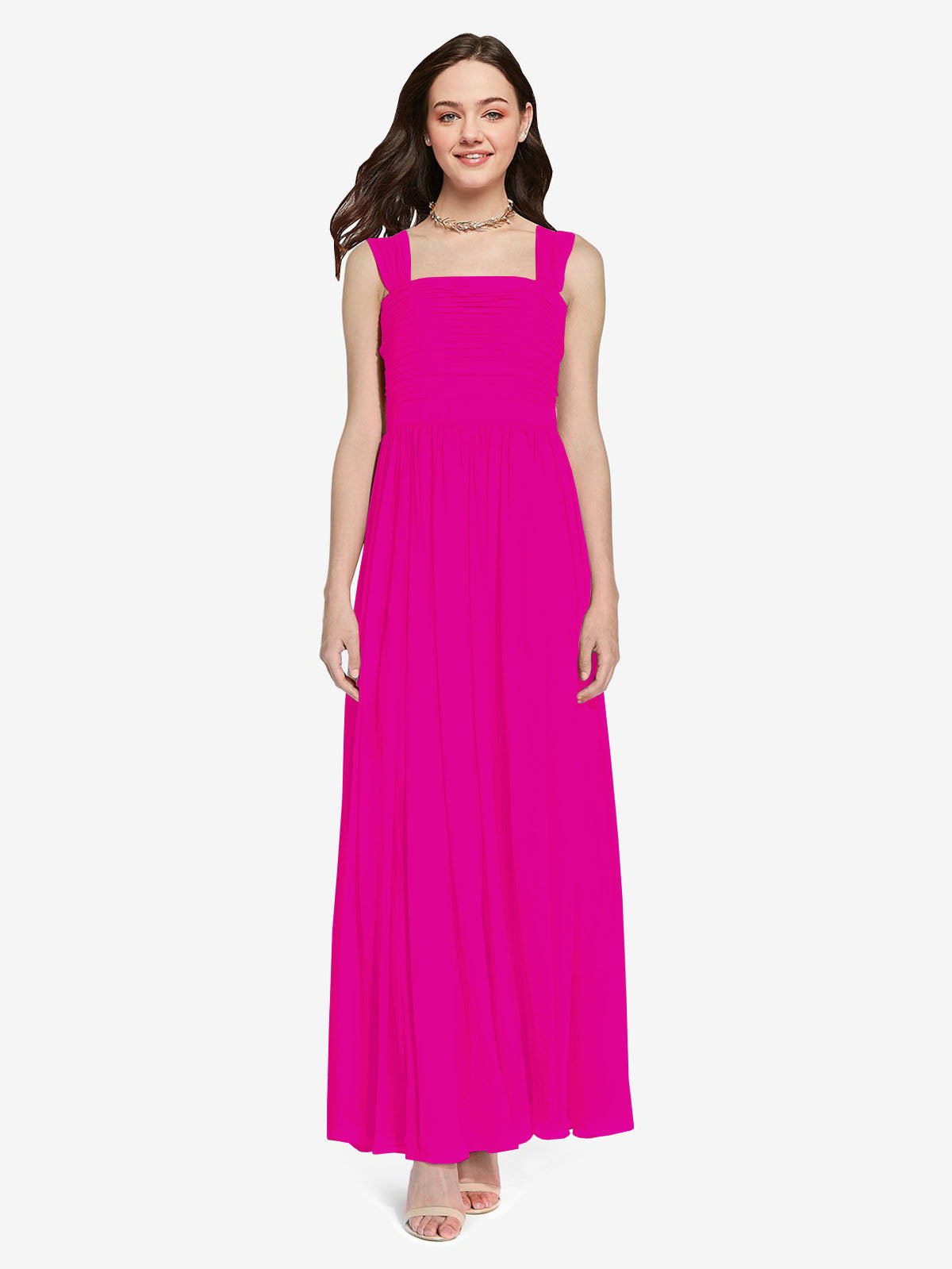 Long A-Line Square Sleeveless Fuchsia Chiffon Bridesmaid Dress Aldridge