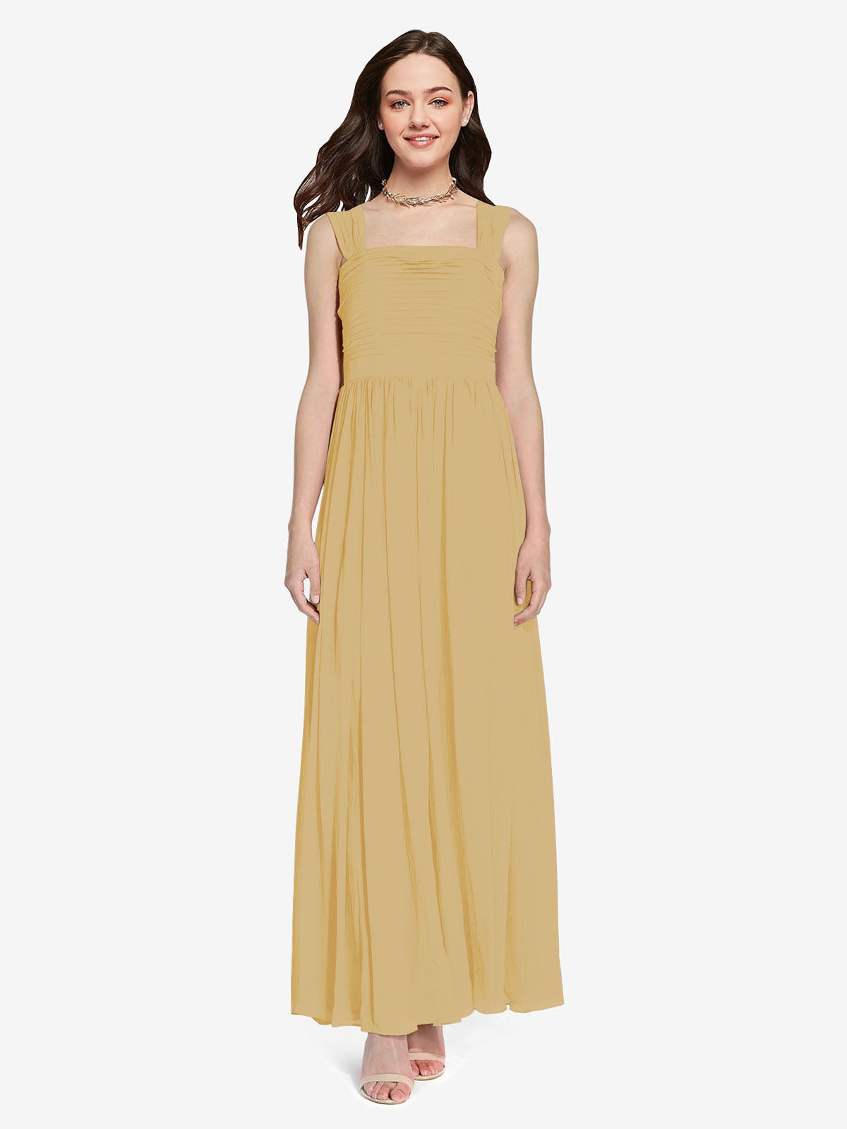Long A-Line Square Sleeveless Gold Chiffon Bridesmaid Dress Aldridge