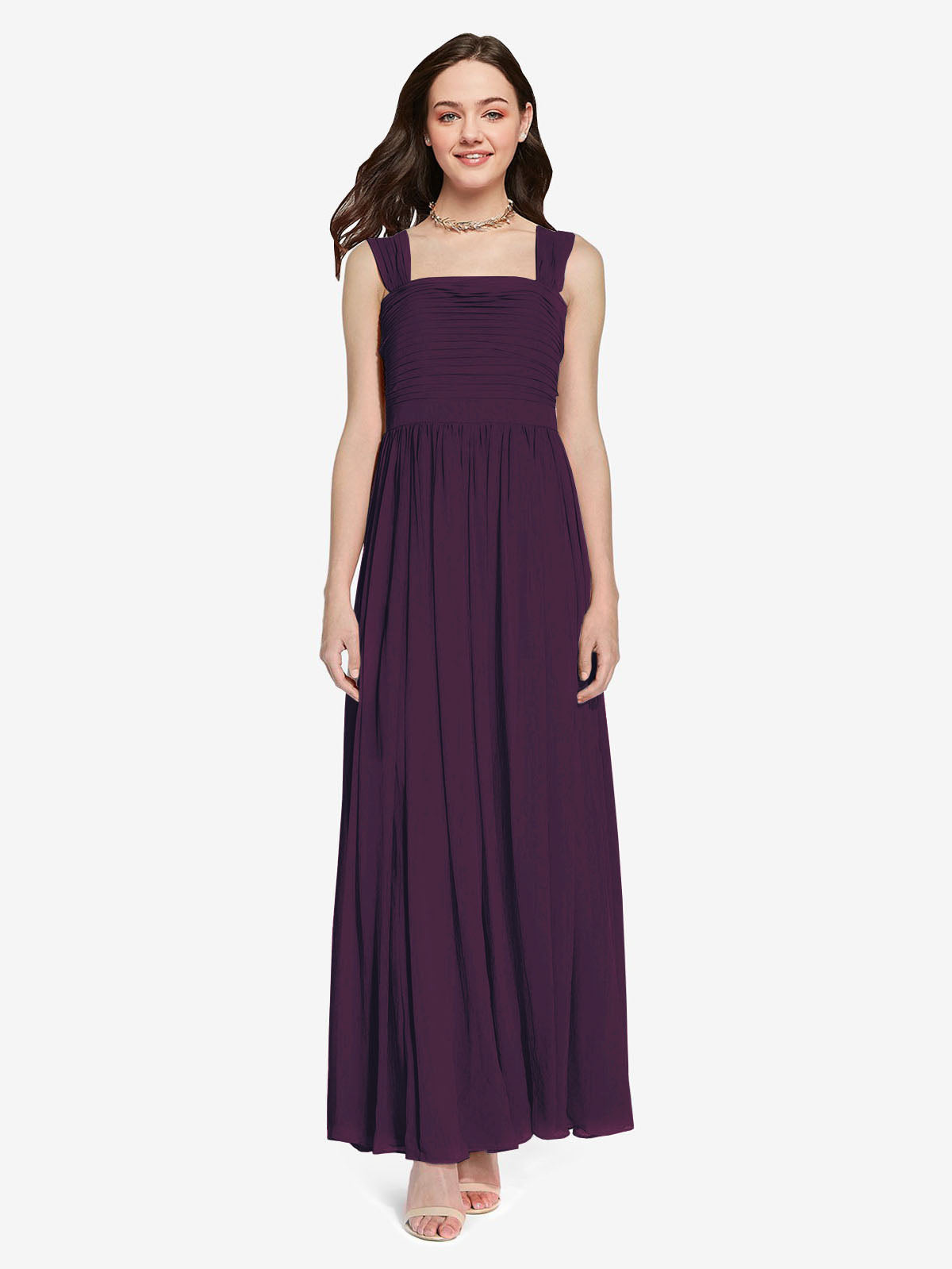 Long A-Line Square Sleeveless Grape Chiffon Bridesmaid Dress Aldridge