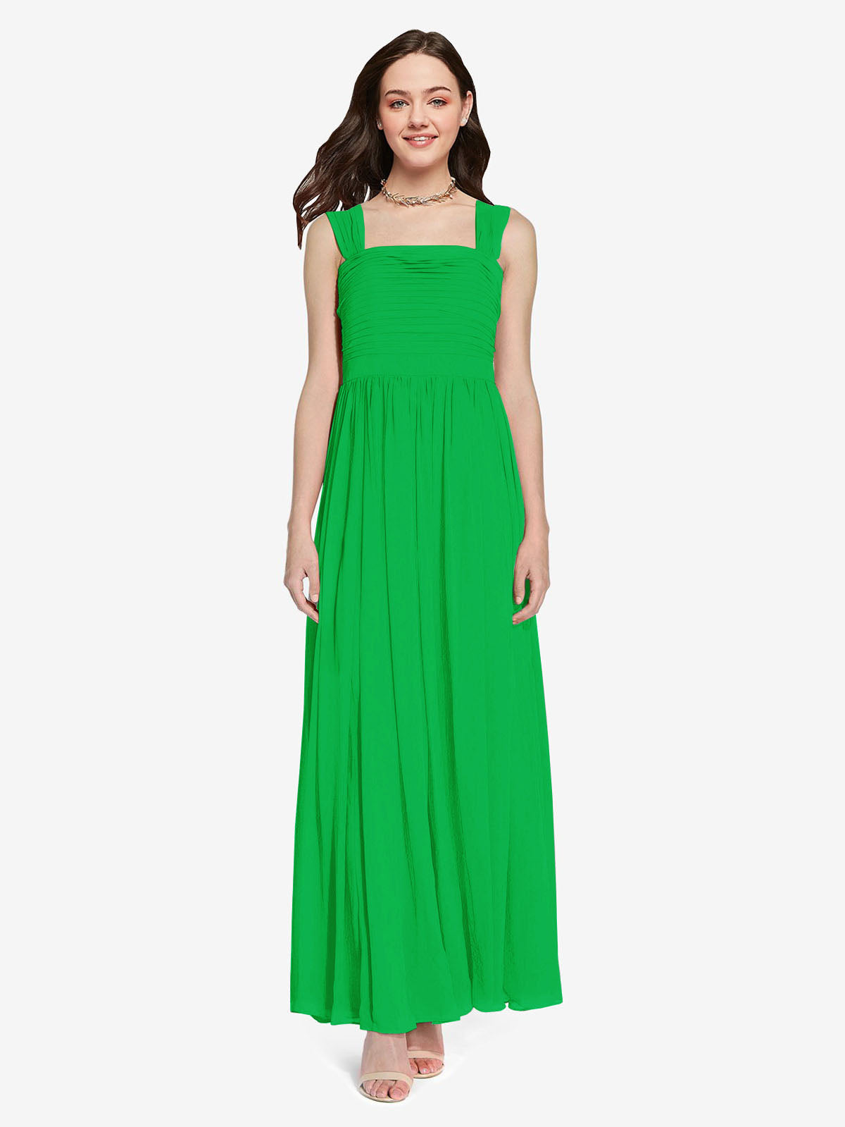 Long A-Line Square Sleeveless Green Chiffon Bridesmaid Dress Aldridge