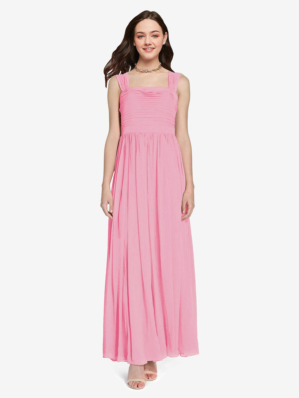 Long A-Line Square Sleeveless Hot Pink Chiffon Bridesmaid Dress Aldridge