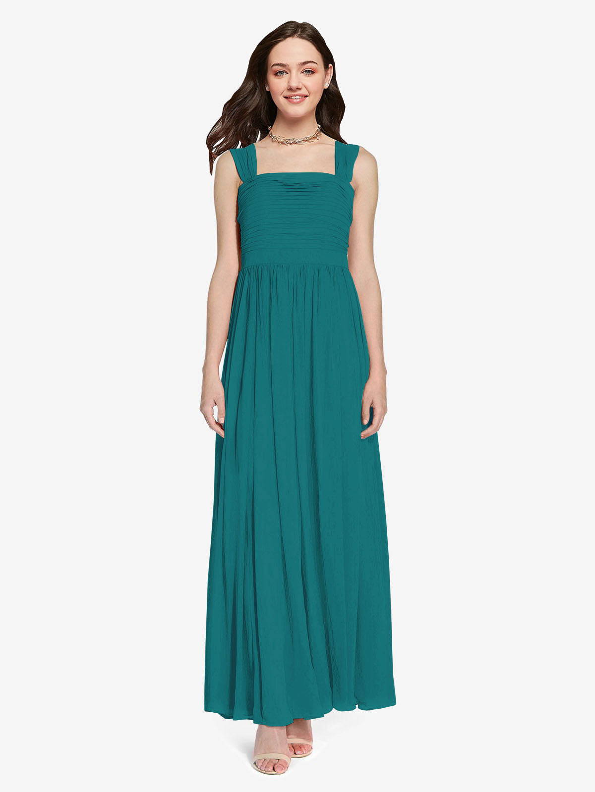 Long A-Line Square Sleeveless Hunter Chiffon Bridesmaid Dress Aldridge