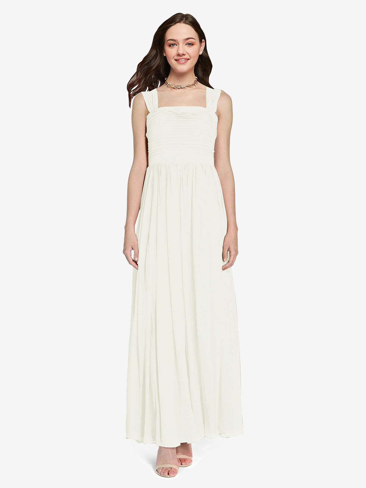 Long A-Line Square Sleeveless Ivory Chiffon Bridesmaid Dress Aldridge