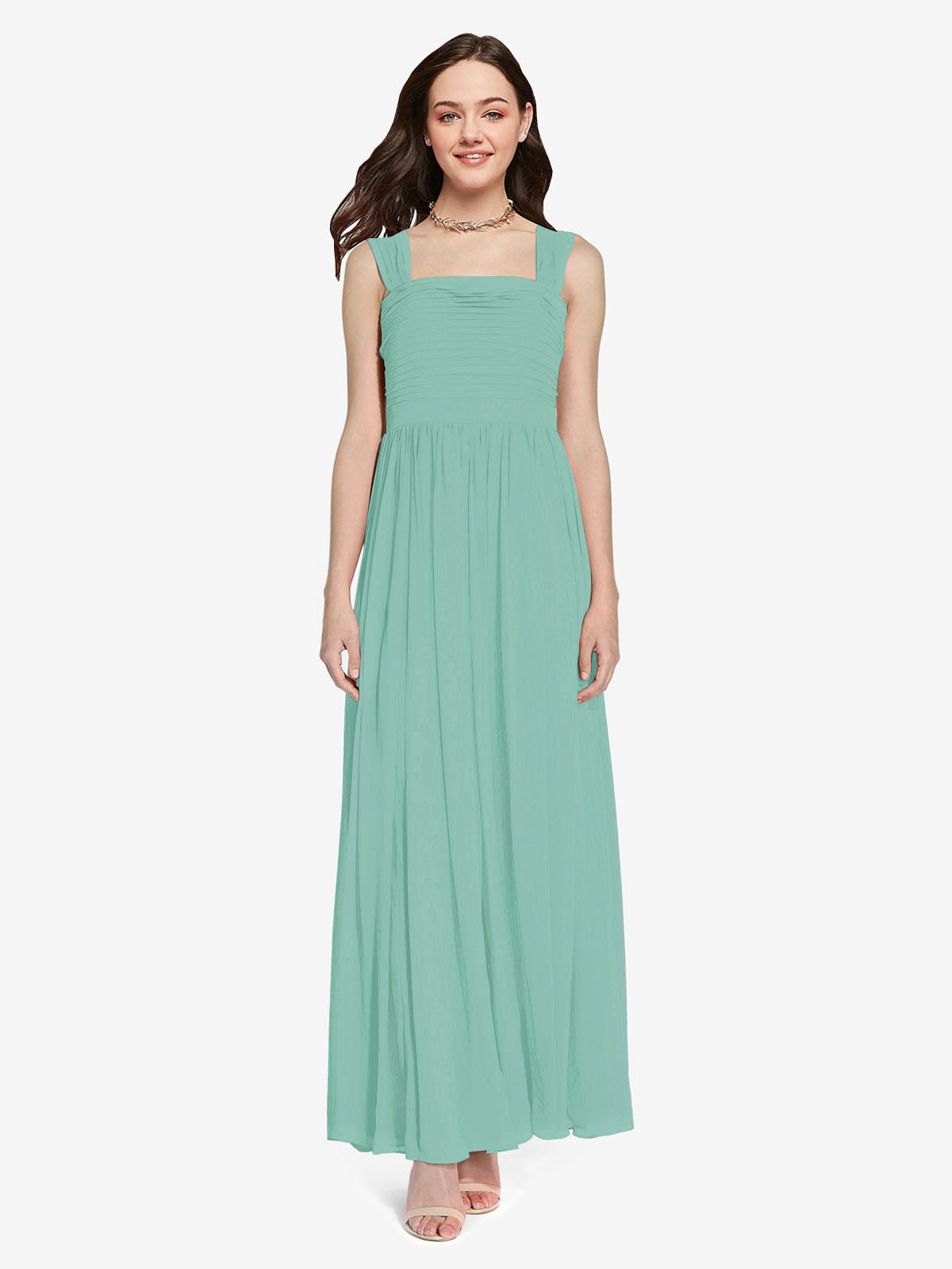 Long A-Line Square Sleeveless Jade Chiffon Bridesmaid Dress Aldridge