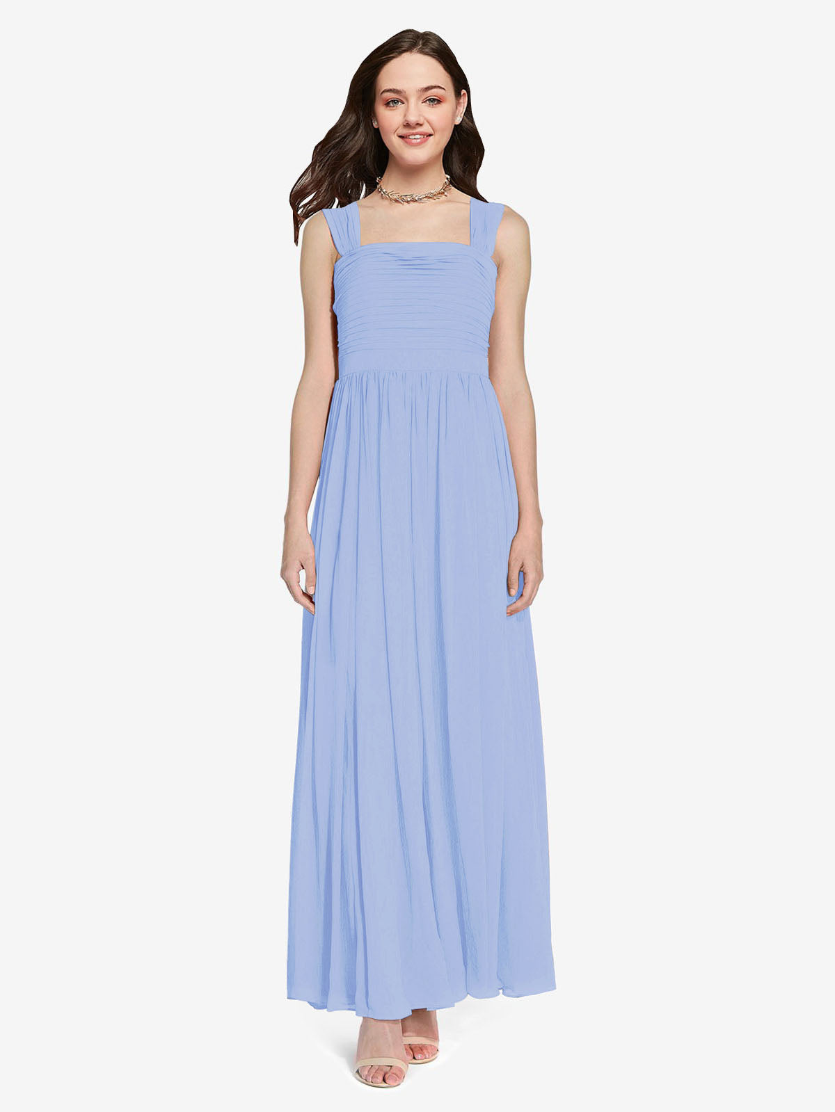 Long A-Line Square Sleeveless Lavender Chiffon Bridesmaid Dress Aldridge