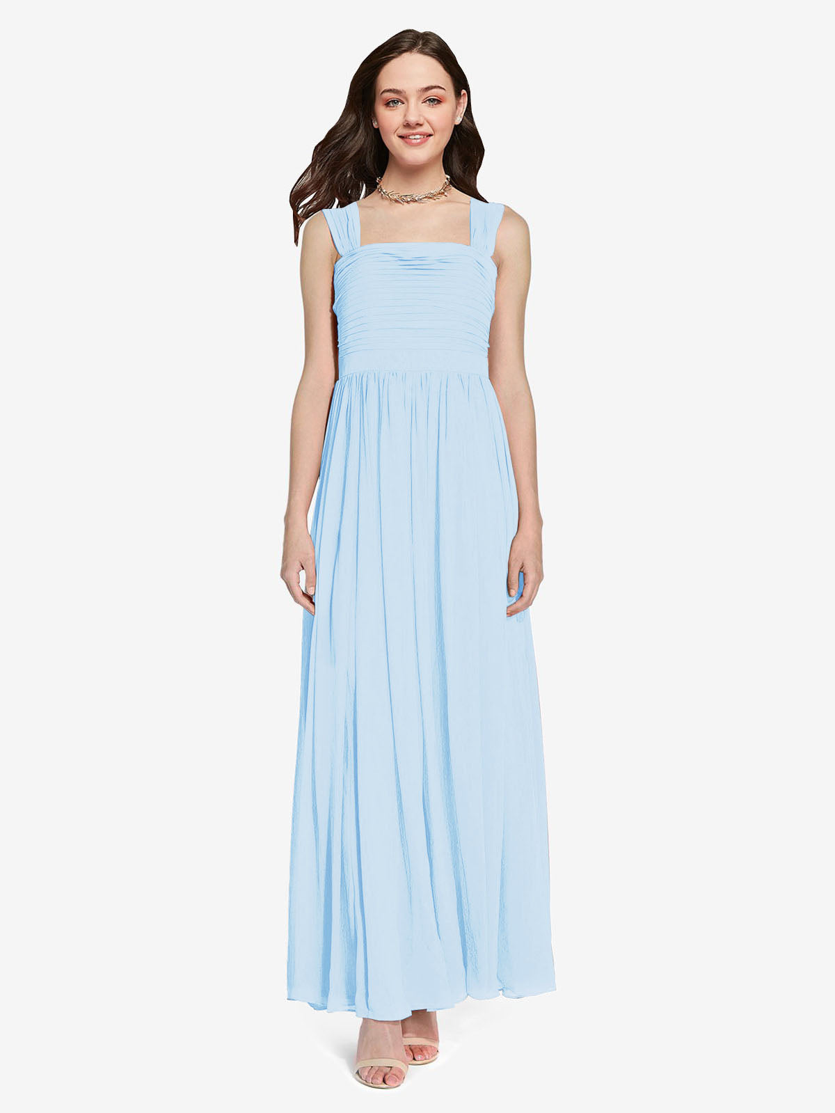 Long A-Line Square Sleeveless Light Sky Blue Chiffon Bridesmaid Dress Aldridge