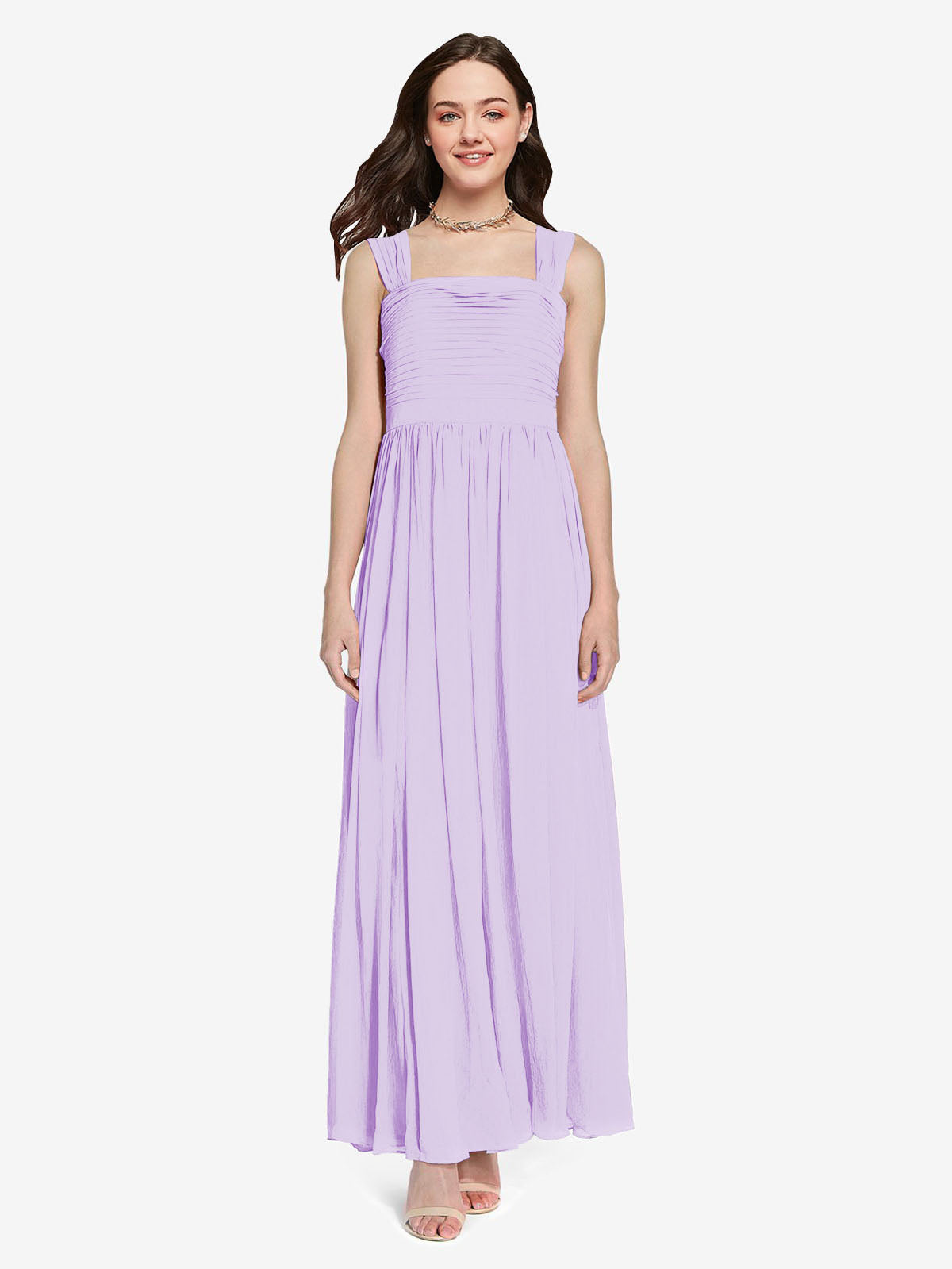 Long A-Line Square Sleeveless Lilac Chiffon Bridesmaid Dress Aldridge