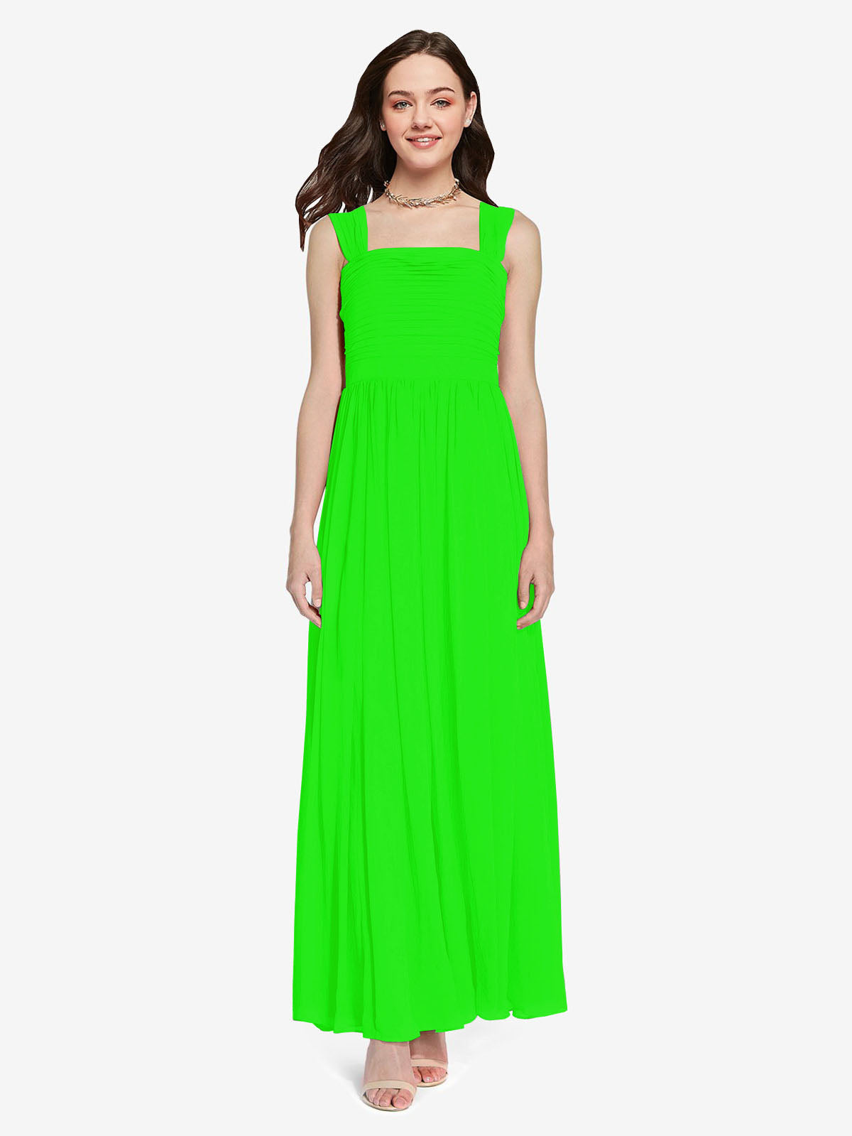 Long A-Line Square Sleeveless Lime Green Chiffon Bridesmaid Dress Aldridge