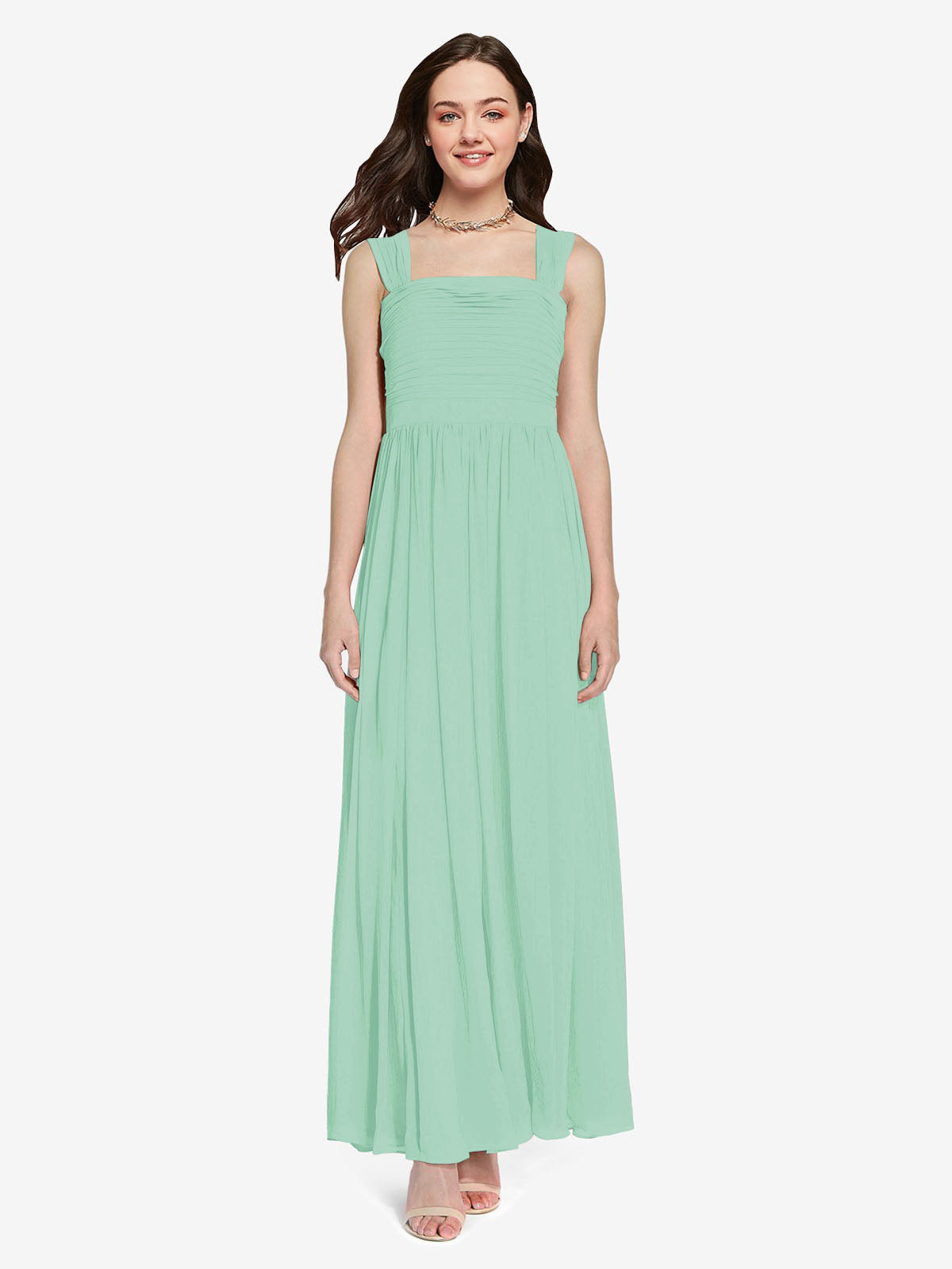 Long A-Line Square Sleeveless Mint Green Chiffon Bridesmaid Dress Aldridge