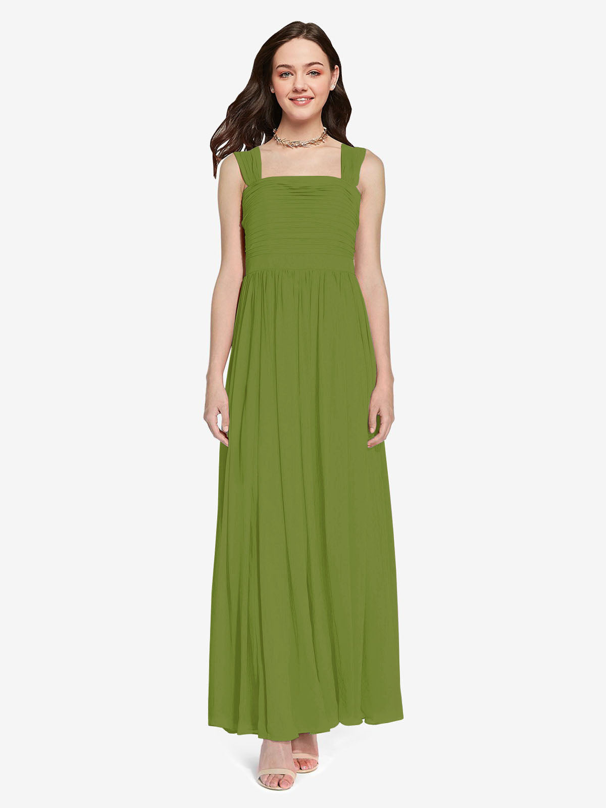Long A-Line Square Sleeveless Olive Green Chiffon Bridesmaid Dress Aldridge