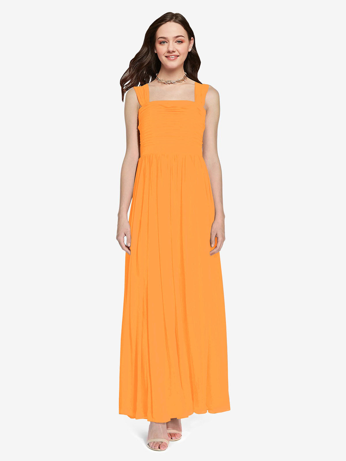 Long A-Line Square Sleeveless Orange Chiffon Bridesmaid Dress Aldridge