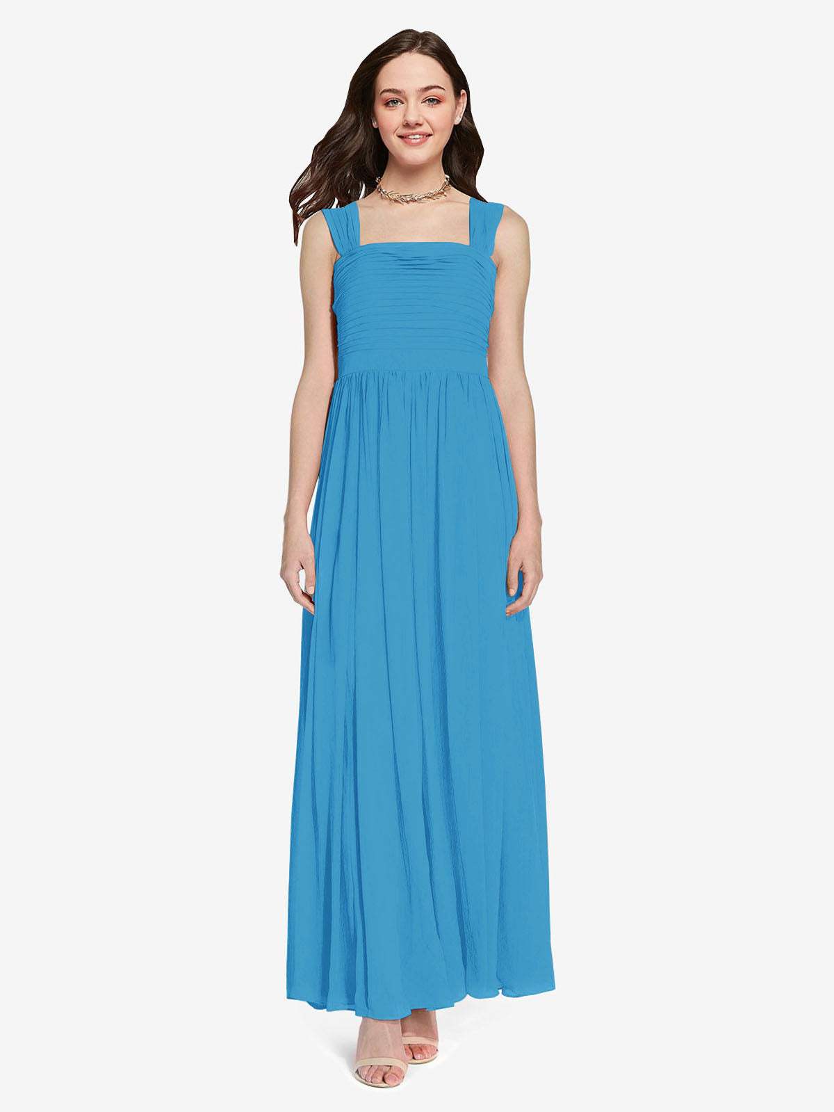 Long A-Line Square Sleeveless Peacock Blue Chiffon Bridesmaid Dress Aldridge