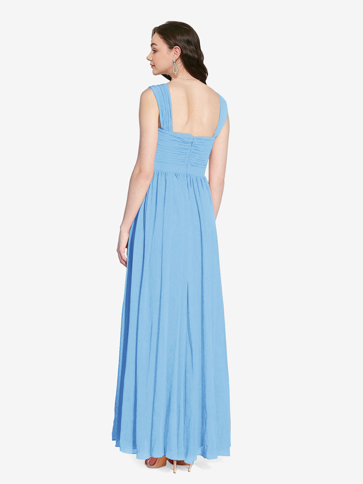 Long A-Line Square Sleeveless Periwinkle Chiffon Bridesmaid Dress Aldridge