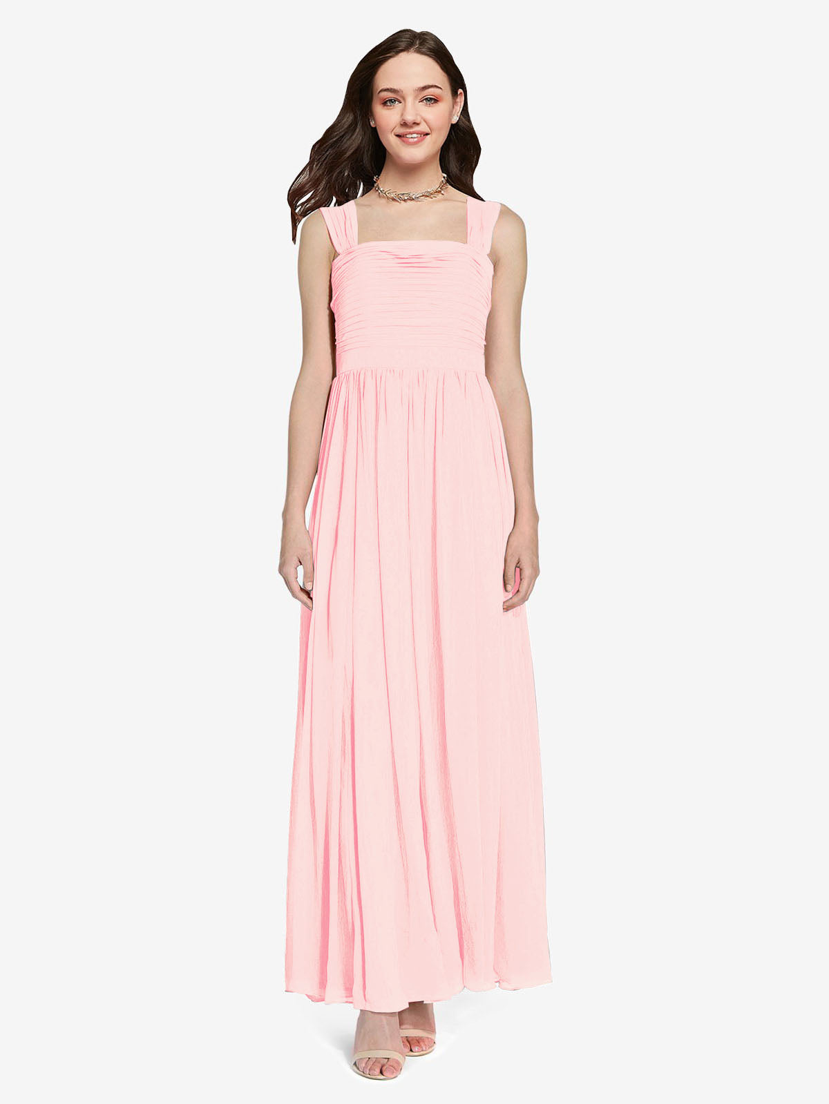 Long A-Line Square Sleeveless Pink Chiffon Bridesmaid Dress Aldridge