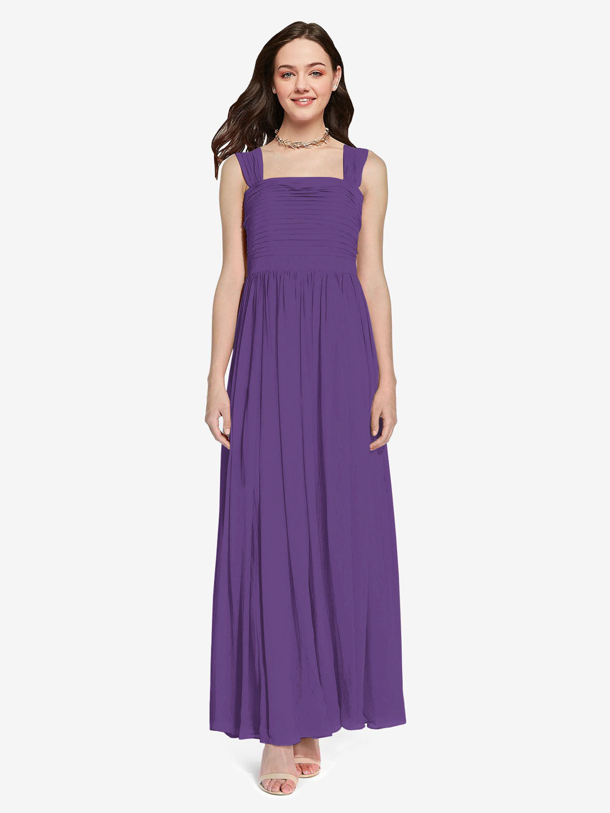 Long A-Line Square Sleeveless Plum Purple Chiffon Bridesmaid Dress Aldridge