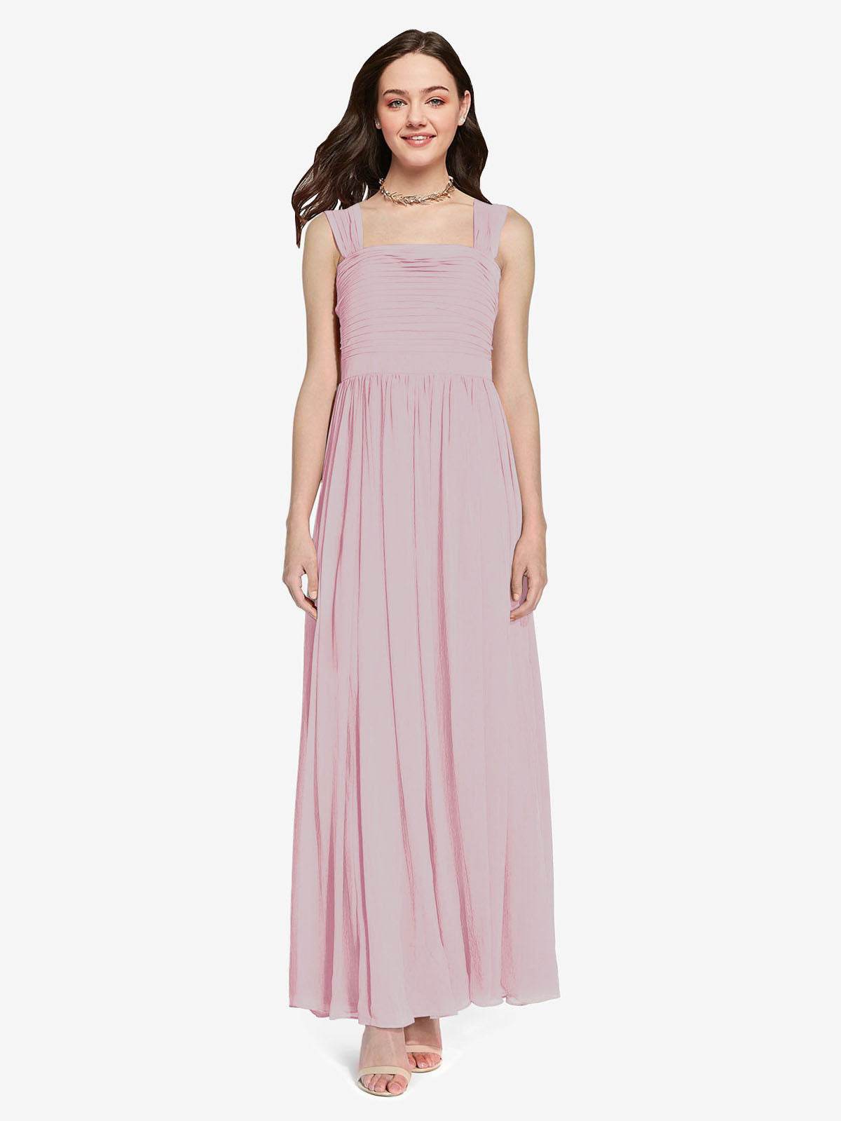 Long A-Line Square Sleeveless Primrose Chiffon Bridesmaid Dress Aldridge