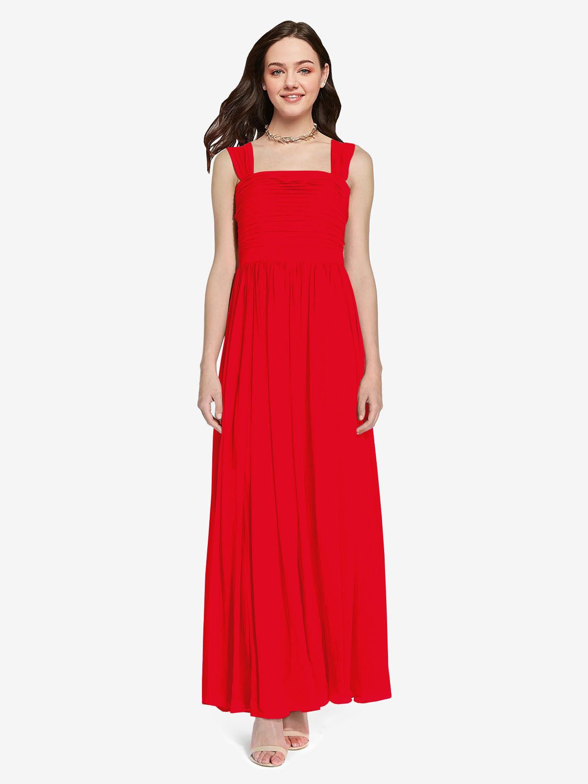 Long A-Line Square Sleeveless Red Chiffon Bridesmaid Dress Aldridge