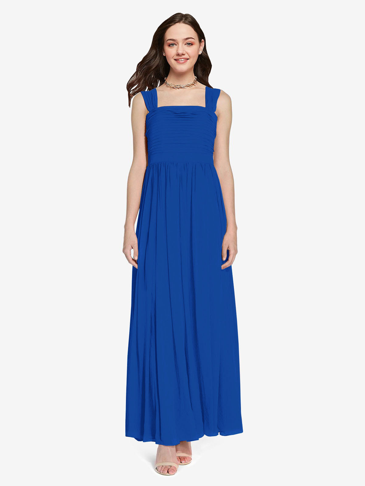 Long A-Line Square Sleeveless Royal Blue Chiffon Bridesmaid Dress Aldridge