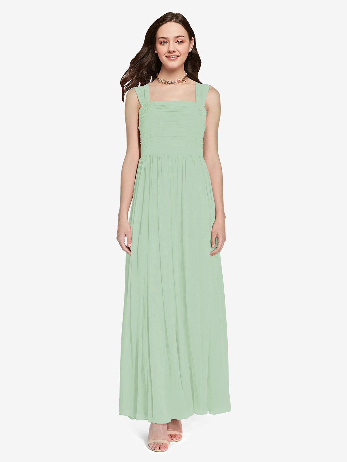 Long A-Line Square Sleeveless Sage Chiffon Bridesmaid Dress Aldridge