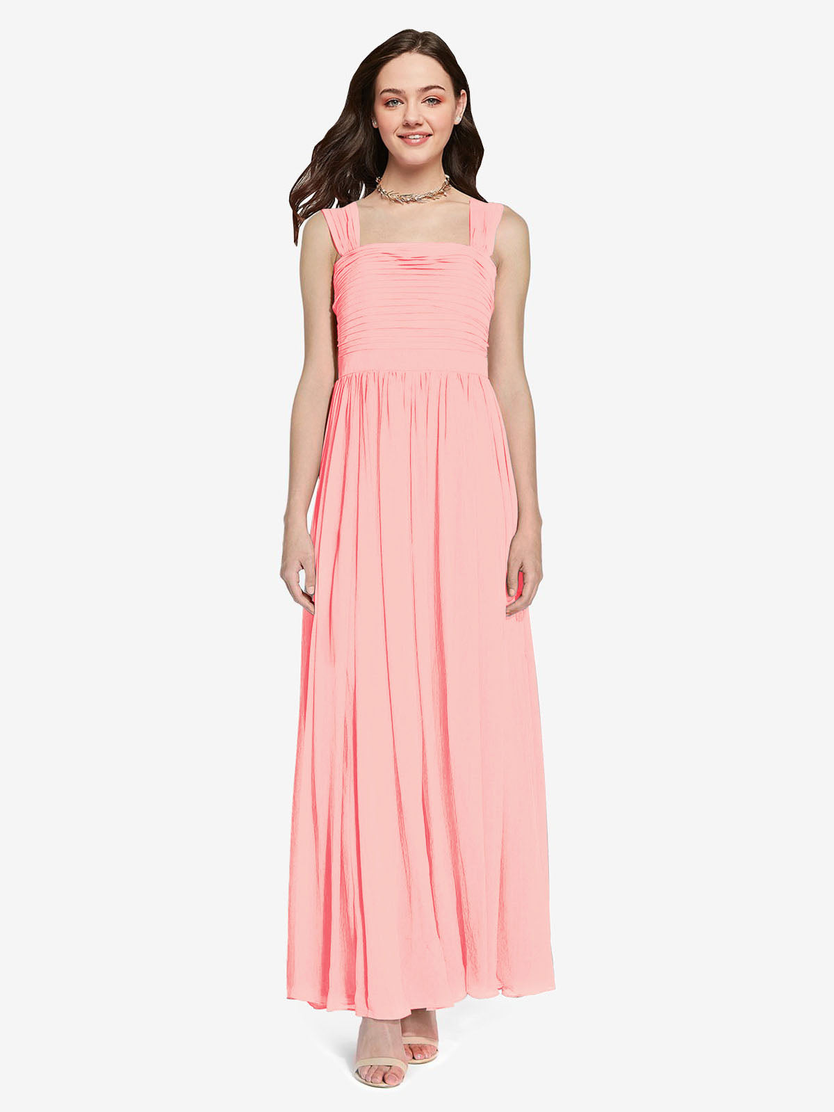 Long A-Line Square Sleeveless Salmon Chiffon Bridesmaid Dress Aldridge