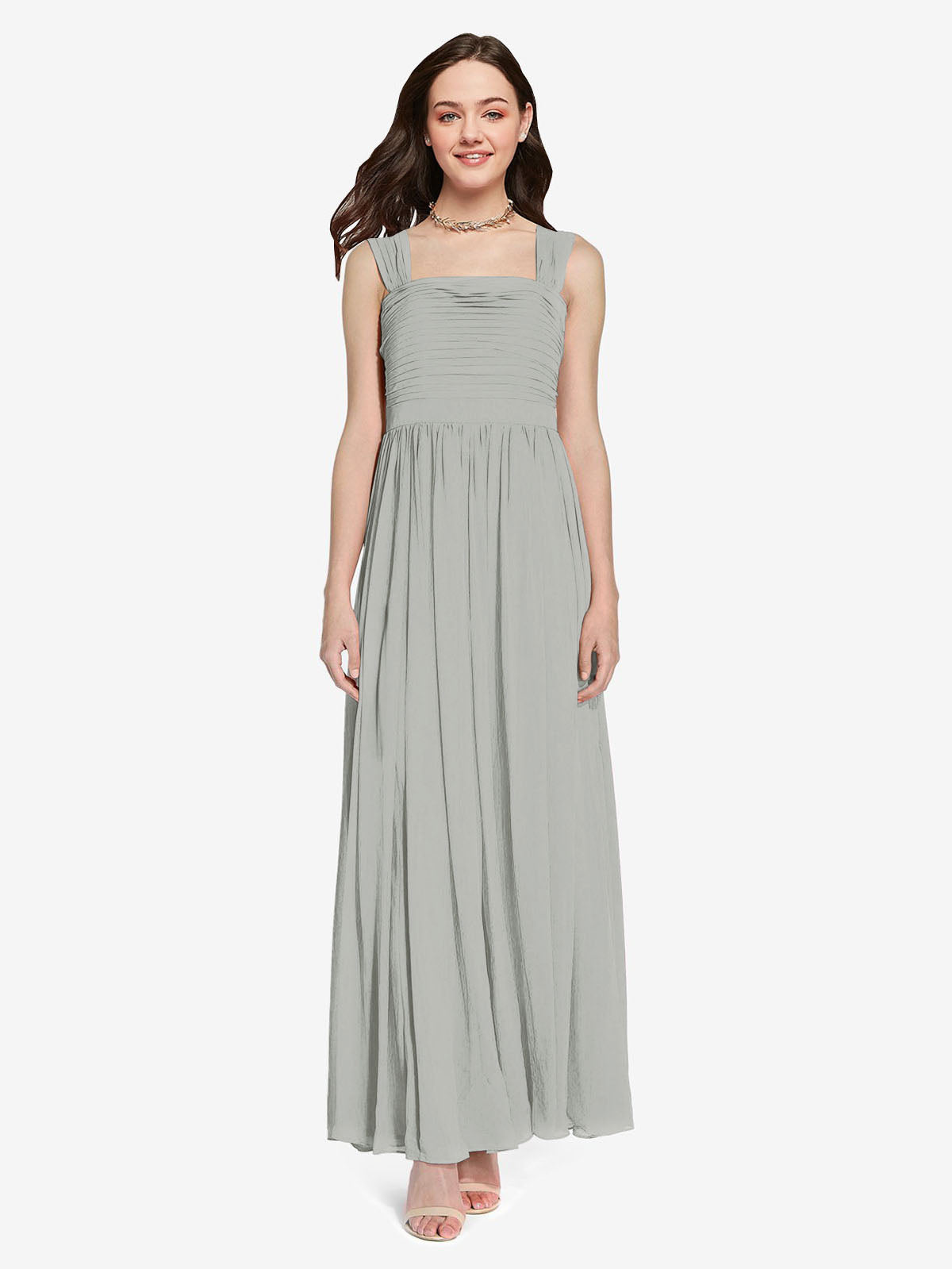 Long A-Line Square Sleeveless Silver Chiffon Bridesmaid Dress Aldridge