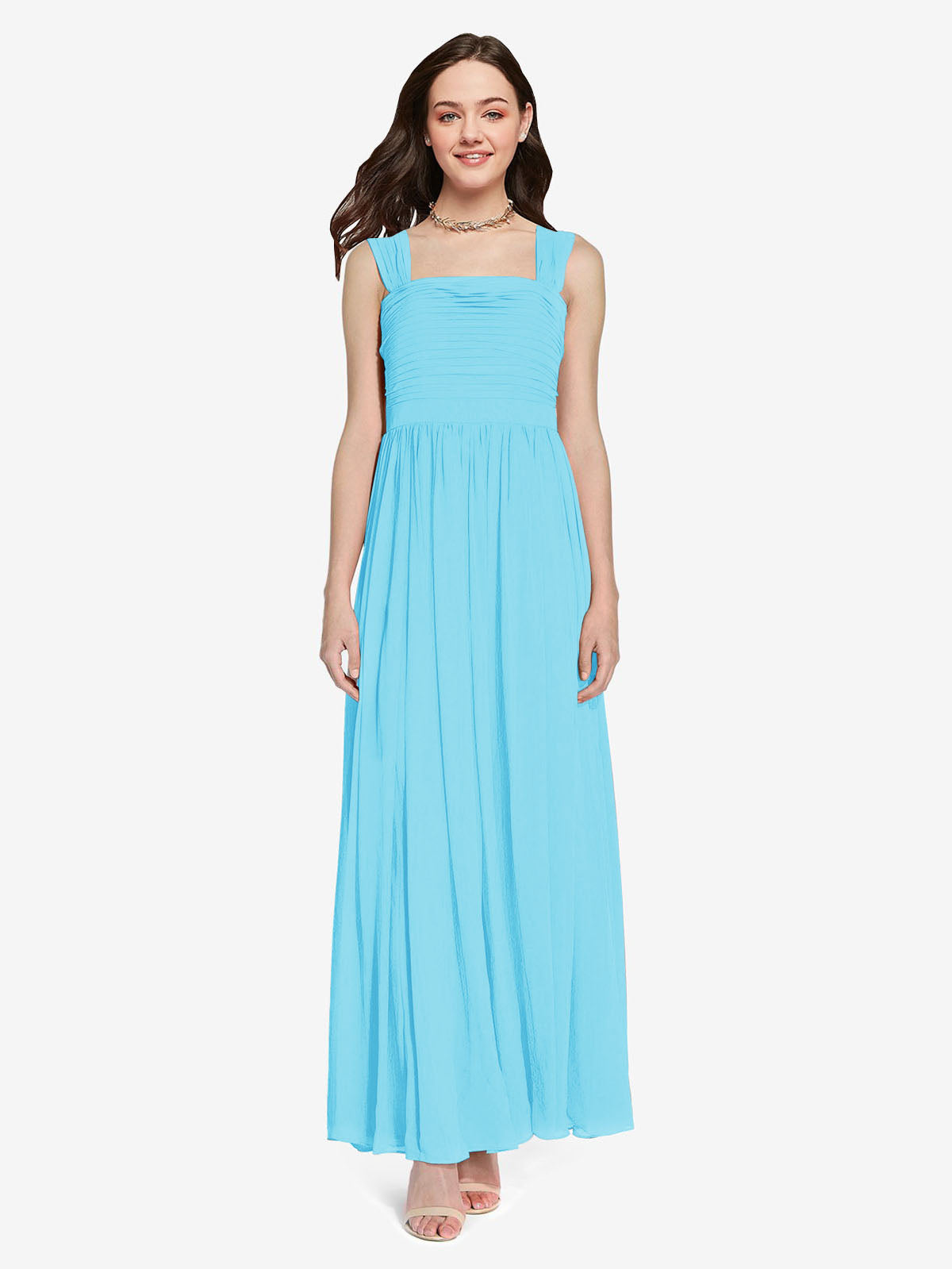 Long A-Line Square Sleeveless Sky Blue Chiffon Bridesmaid Dress Aldridge