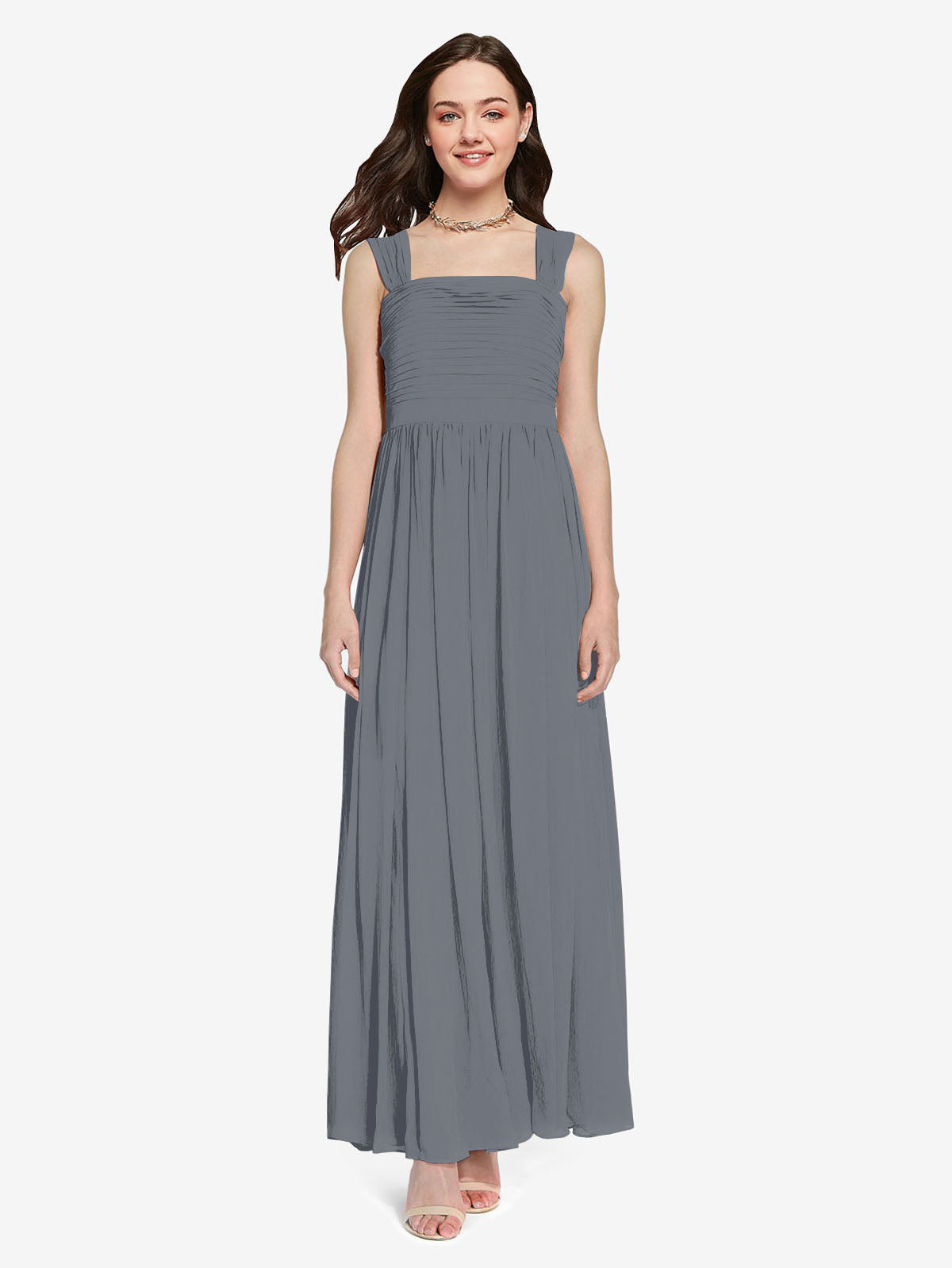 Long A-Line Square Sleeveless Slate Grey Chiffon Bridesmaid Dress Aldridge