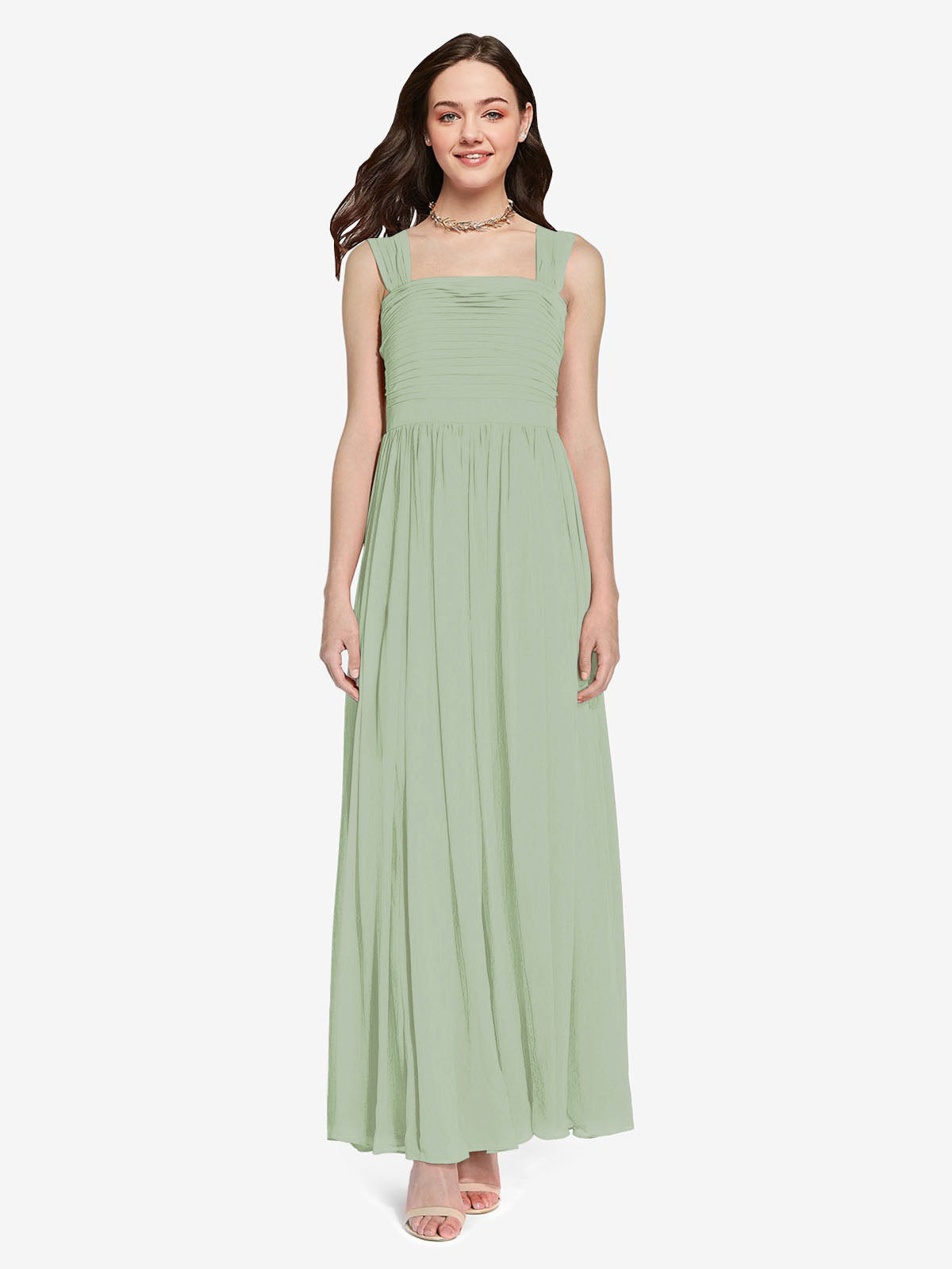 Long A-Line Square Sleeveless Smoke Green Chiffon Bridesmaid Dress Aldridge