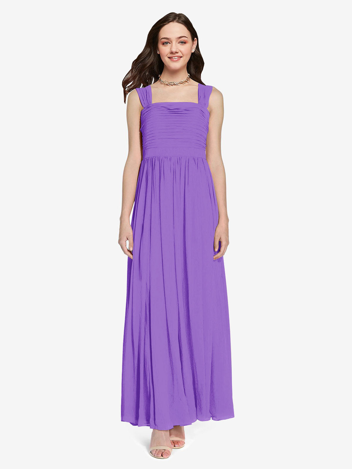 Long A-Line Square Sleeveless Tahiti Chiffon Bridesmaid Dress Aldridge