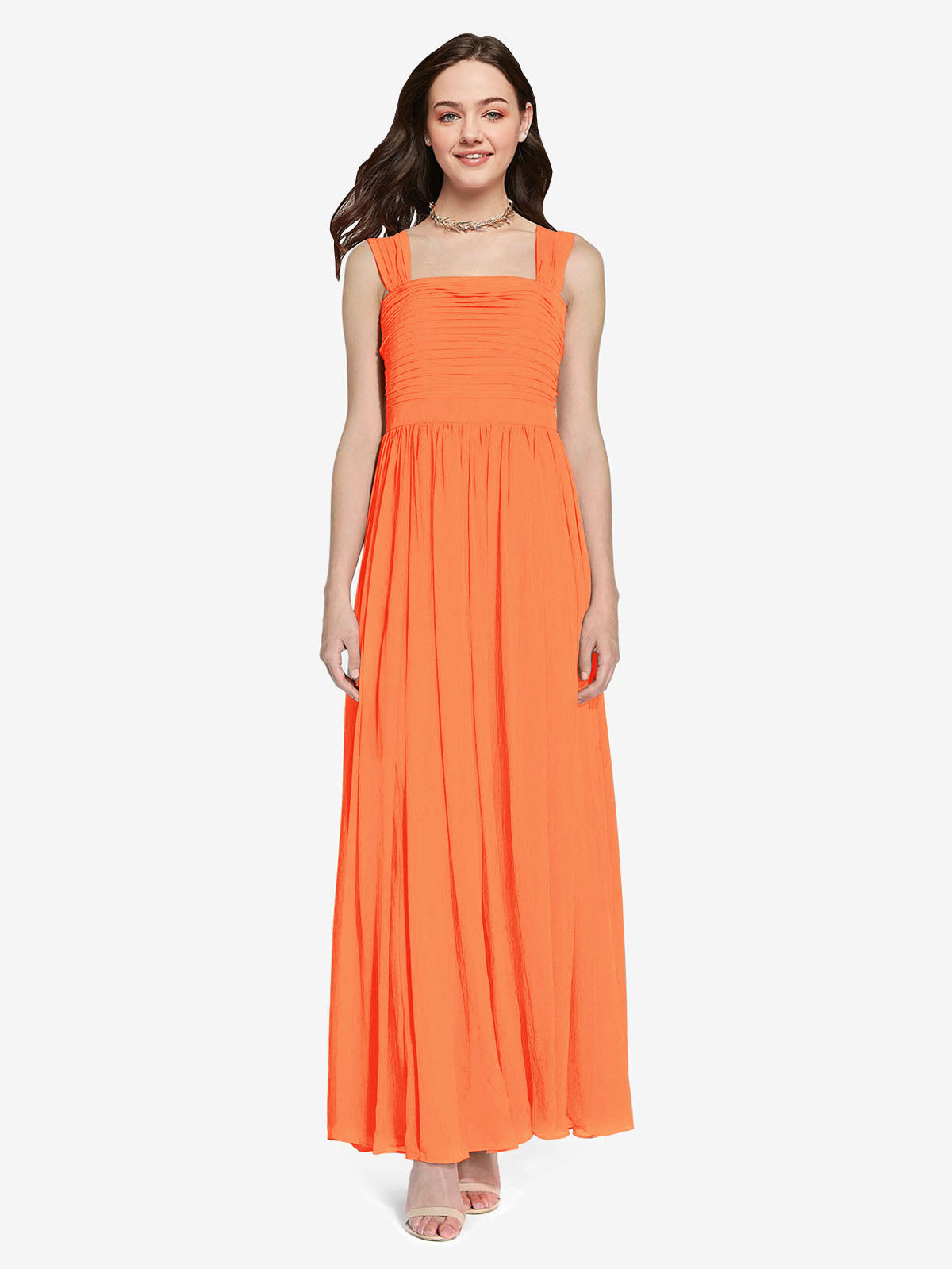 Long A-Line Square Sleeveless Tangerine Tango Chiffon Bridesmaid Dress Aldridge