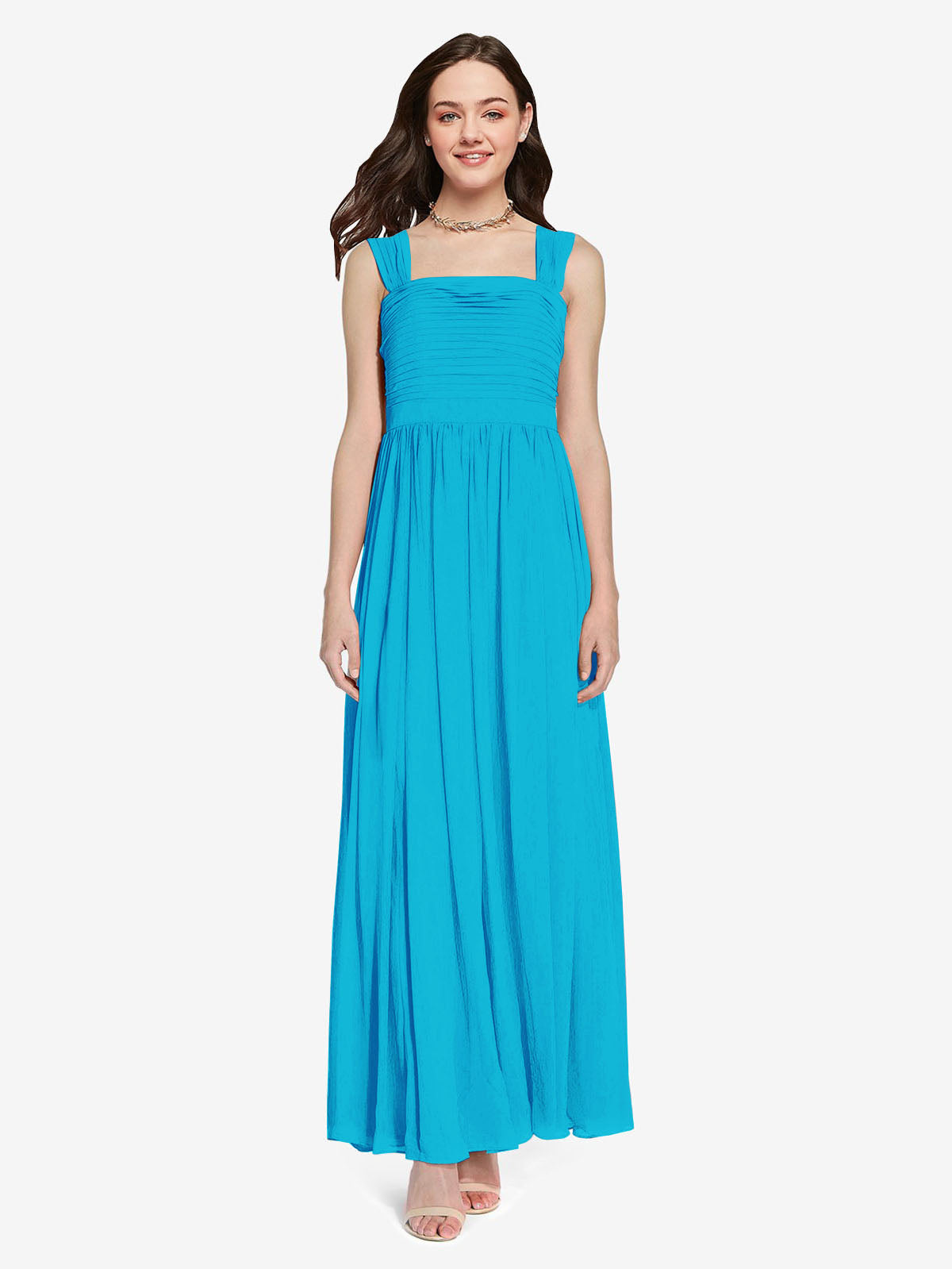 Long A-Line Square Sleeveless Turquoise Chiffon Bridesmaid Dress Aldridge