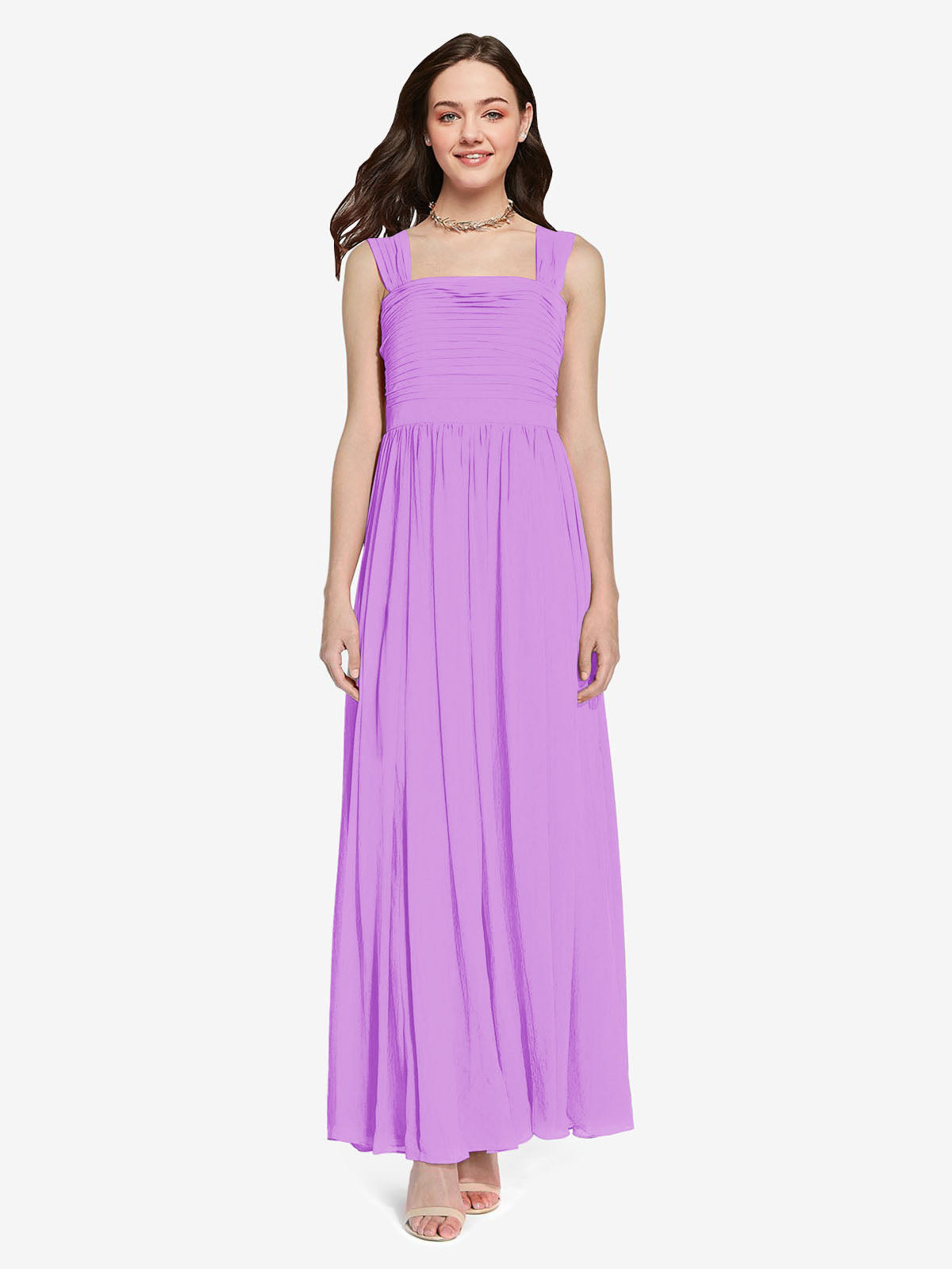 Long A-Line Square Sleeveless Violet Chiffon Bridesmaid Dress Aldridge