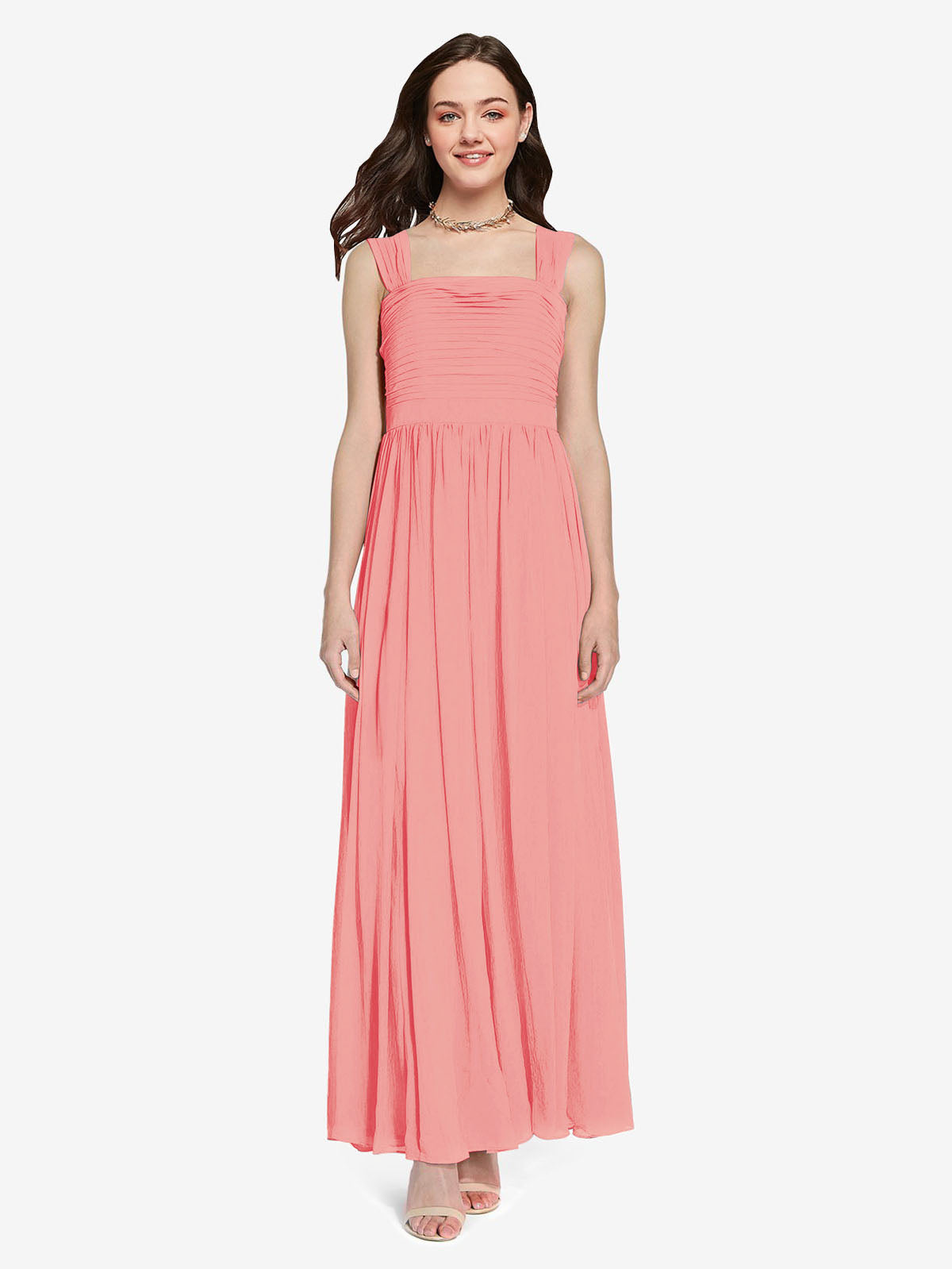 Long A-Line Square Sleeveless Watermelon Chiffon Bridesmaid Dress Aldridge