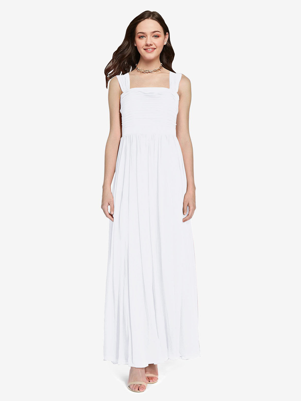 Long A-Line Square Sleeveless White Chiffon Bridesmaid Dress Aldridge