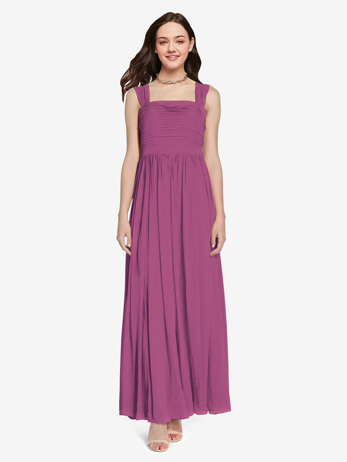 Long A-Line Square Sleeveless Wild Berry Chiffon Bridesmaid Dress Aldridge