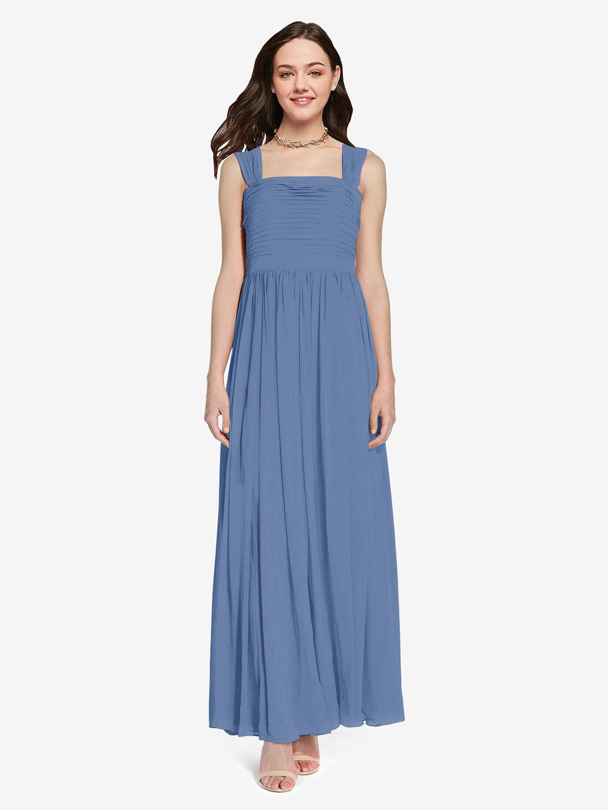 Long A-Line Square Sleeveless Windsor Blue Chiffon Bridesmaid Dress Aldridge
