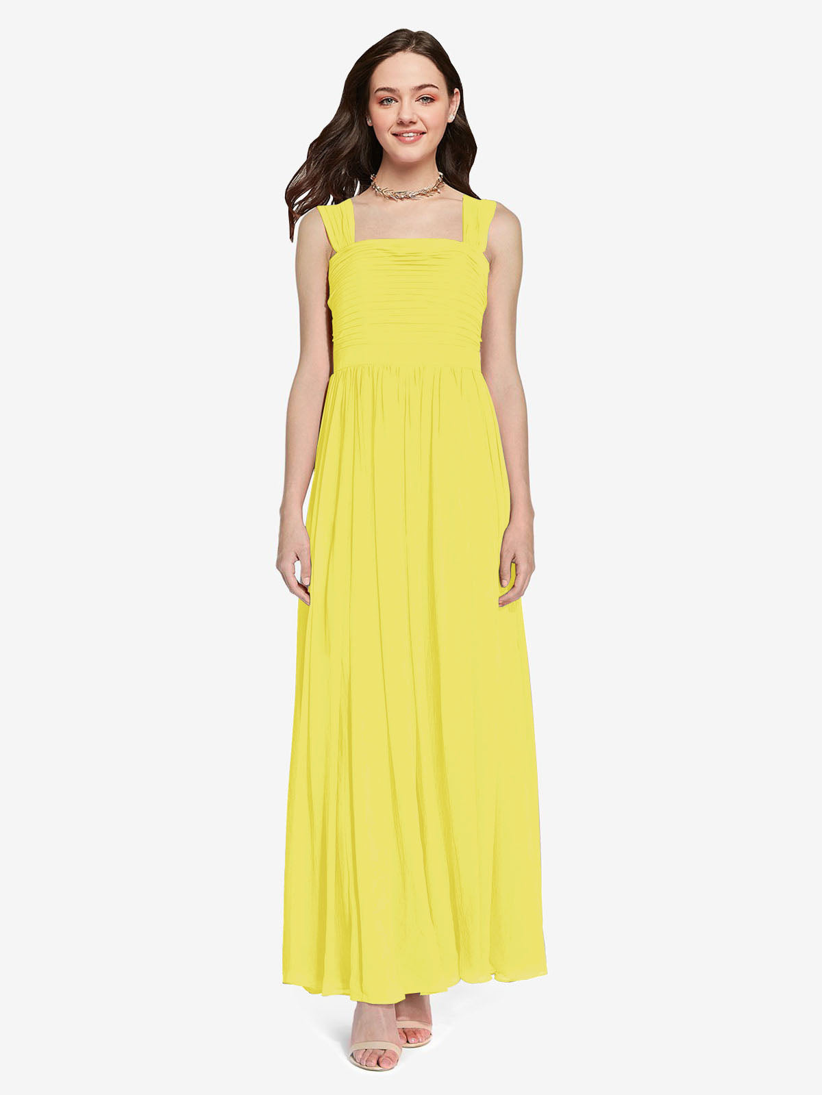 Long A-Line Square Sleeveless Yellow Chiffon Bridesmaid Dress Aldridge
