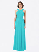 Long A-Line Off The Shoulder Sweetheart Sleeveless Aqua Chiffon Bridesmaid Dress Claire
