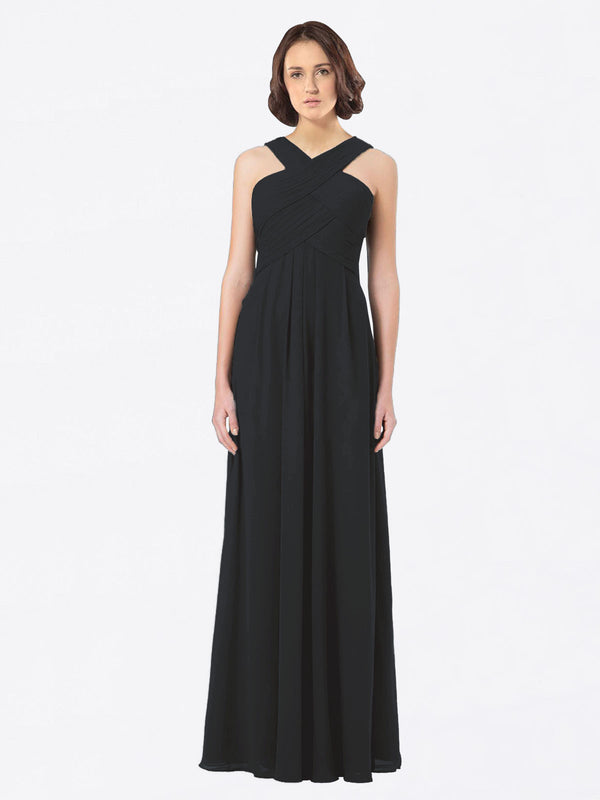 Long A-Line Off The Shoulder Sweetheart Sleeveless Black Chiffon Bridesmaid Dress Claire