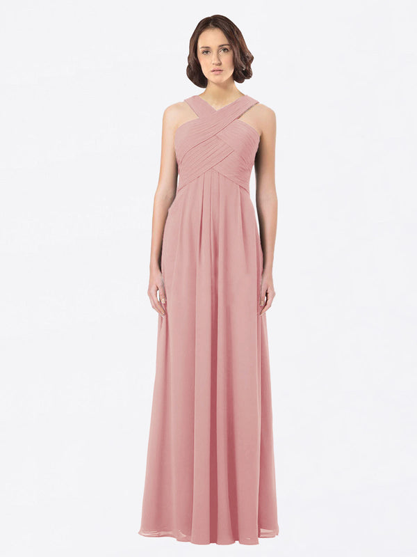 Long A-Line Off The Shoulder Sweetheart Sleeveless Bliss Chiffon Bridesmaid Dress Claire